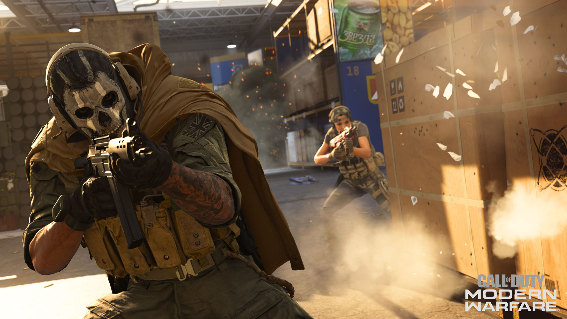 A fighter in a stylized skull mask takes aim in Call of Duty Warzone