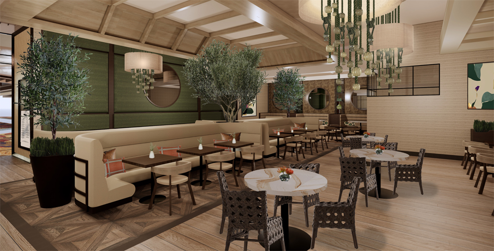 Rendering of the dining room at Zeffer's café, coming to the Sahara in late July.