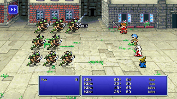 a team of four fighters from final fantasy fighting a hoard of monsters. it's a pixel style