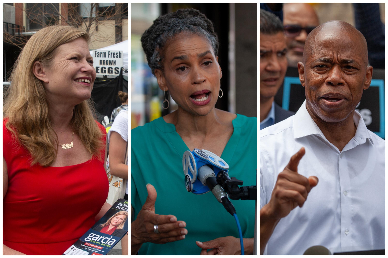 Mayoral candidates Kathryn Garcia, left, Maya Wiley and Eric Adams