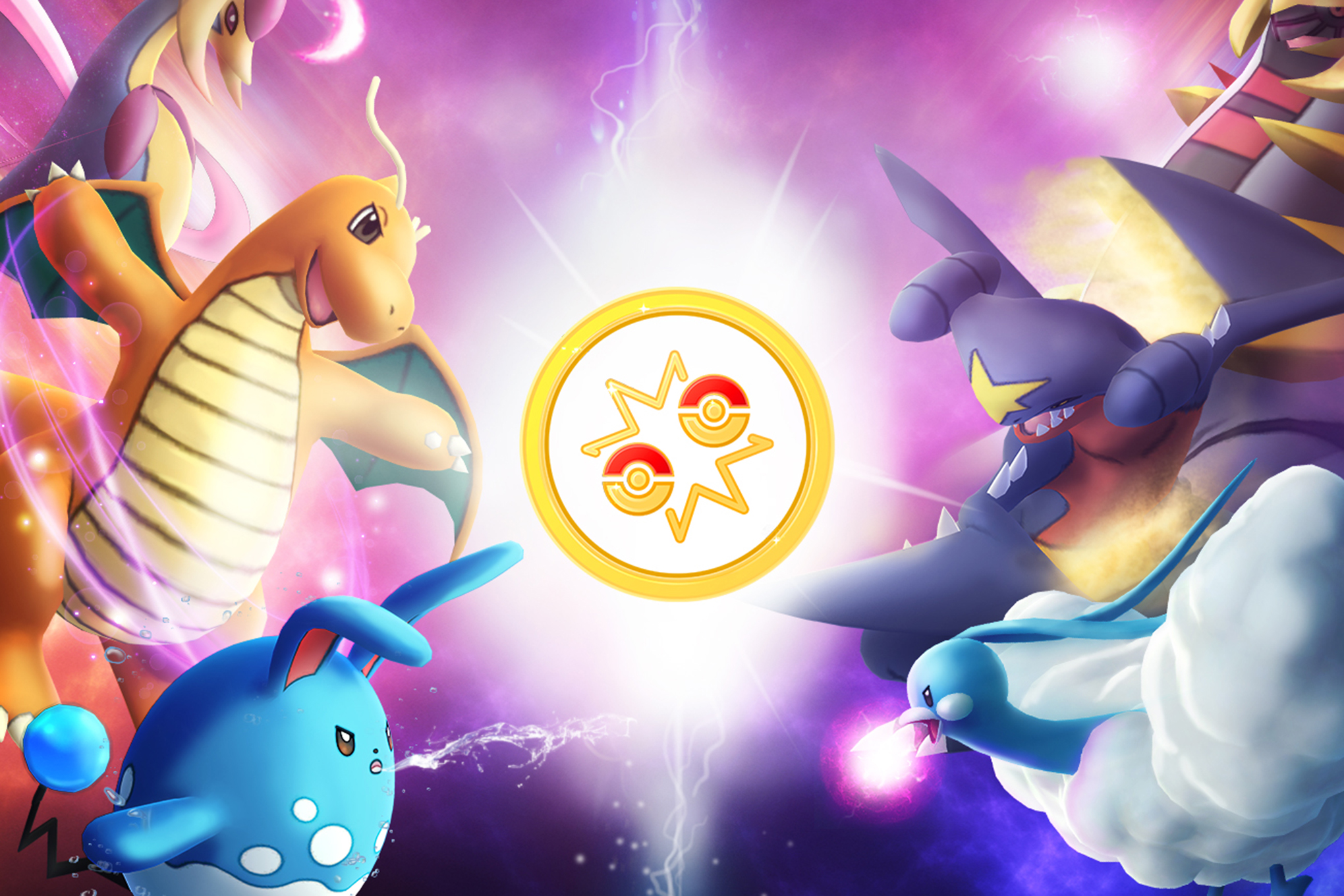 Key art for Pokemon Go Battle League shows several fully grown critters leaping into the fray from opposite sides of the frame.