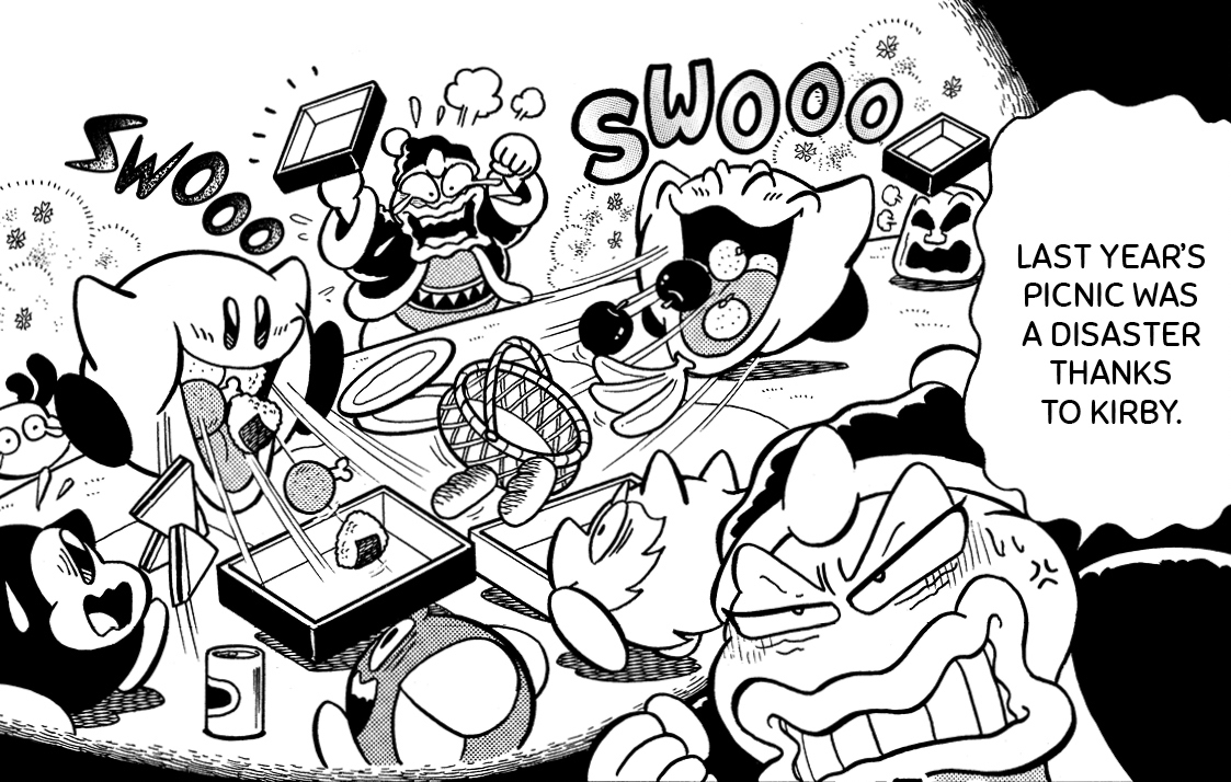"""King Dedede furiously recalls Kirby dashing around an inhaling all the picnic food last year. """"Last year's picnic was a disaster thanks to Kirby,"""" he mutters, in Kirby Manga Mania Vol. 1 (2021)."""