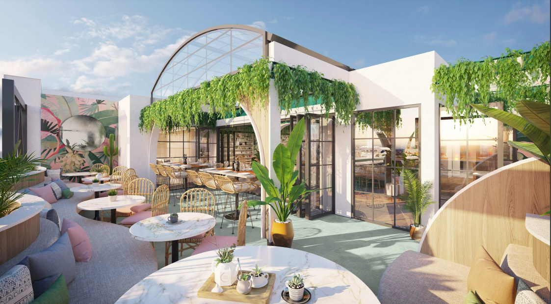 Rending of CocoMaya rooftop bar in Little Italy