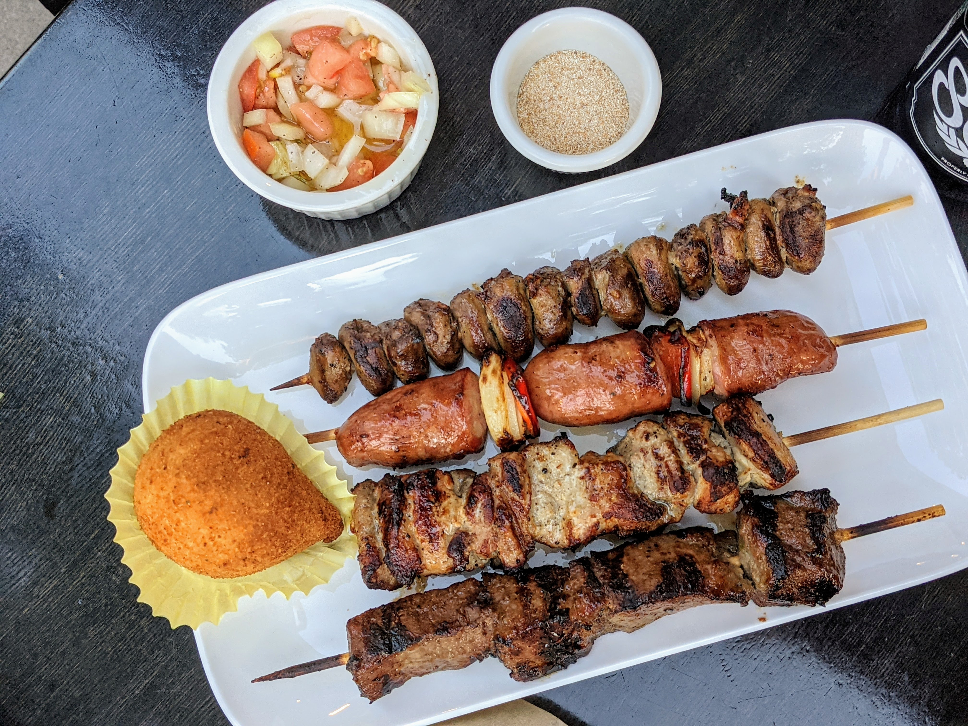 Meat skewers and coxinha from Valeu Espetos.