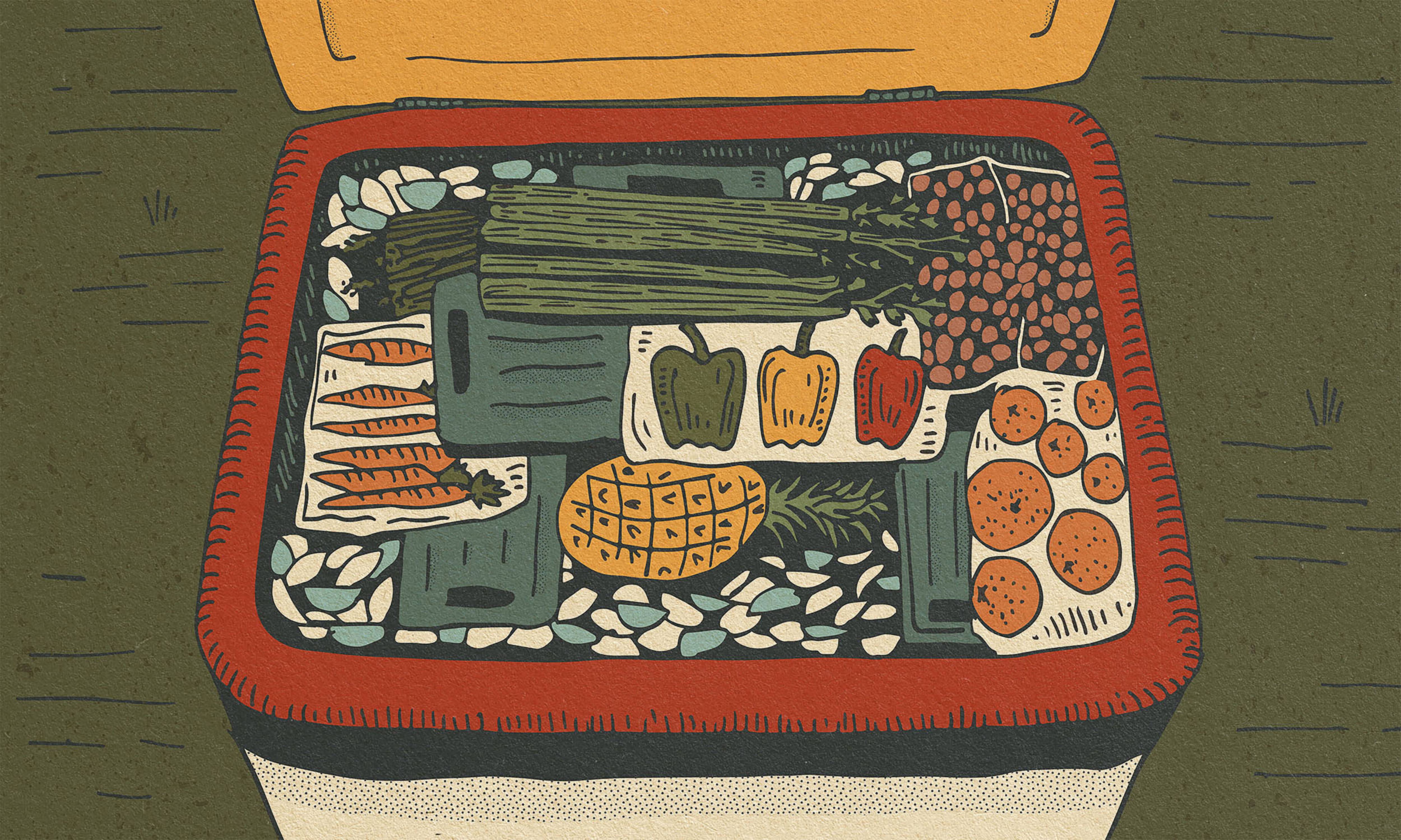 An overhead view of a cooler packed to the brim in a strategic balanced manner. Illustration.