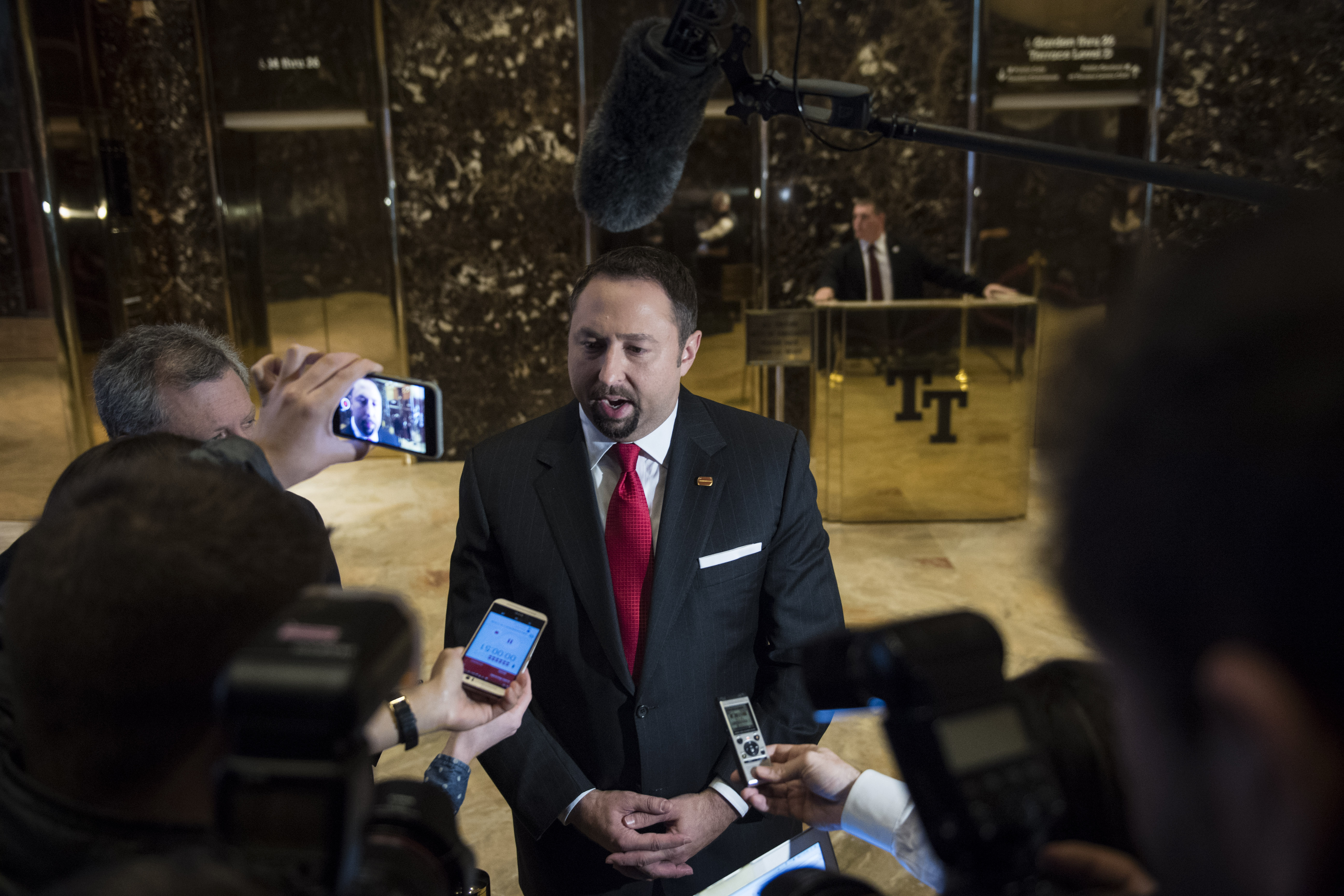 Former Trump spokesperson Jason Miller speaking to members of the media inside Trump Tower in New York City in 2016.