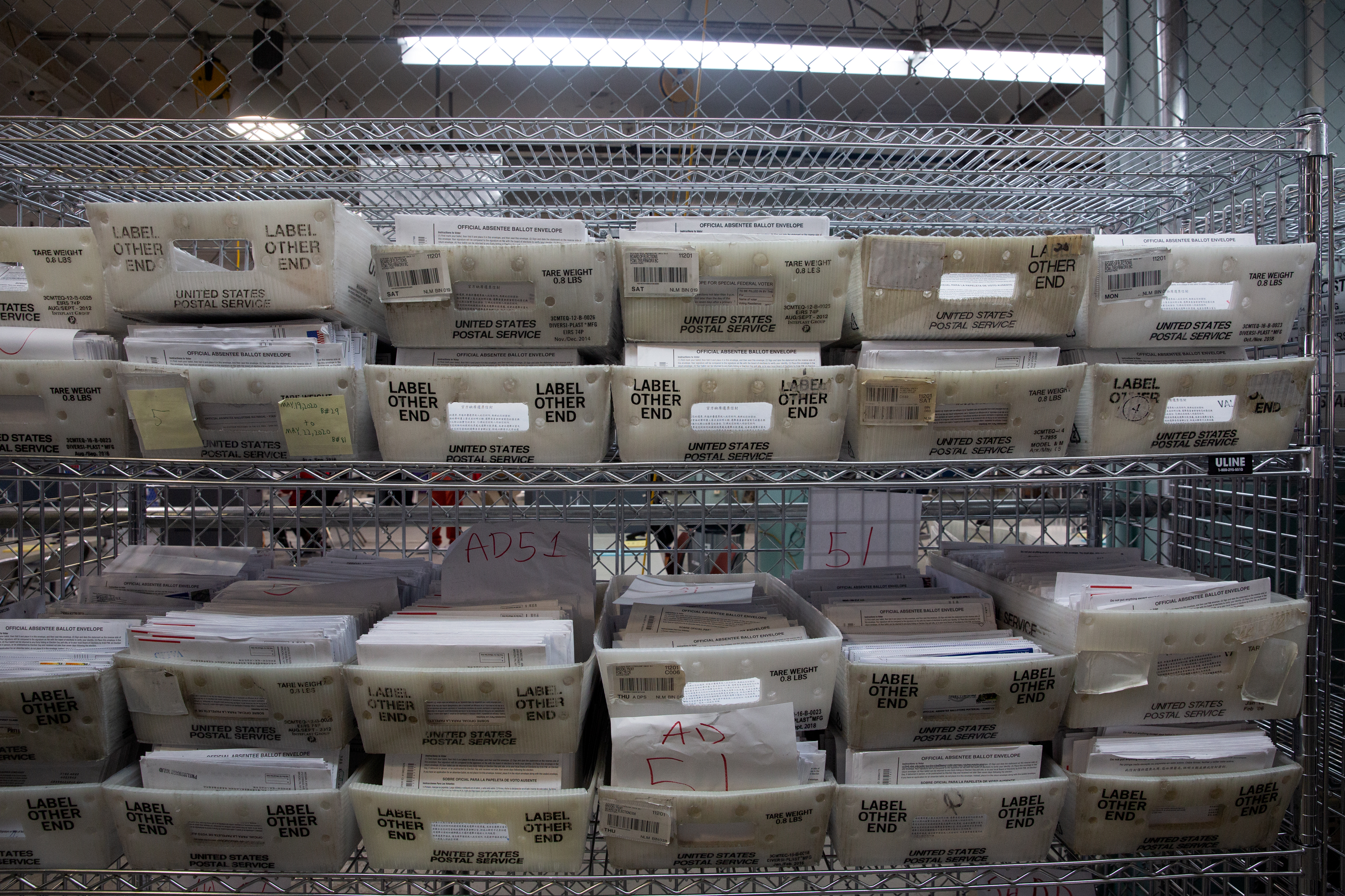 The Board of Elections stored 2020 general election absentee ballots in the a Brooklyn warehouse before being counted. Nov. 10, 2020.