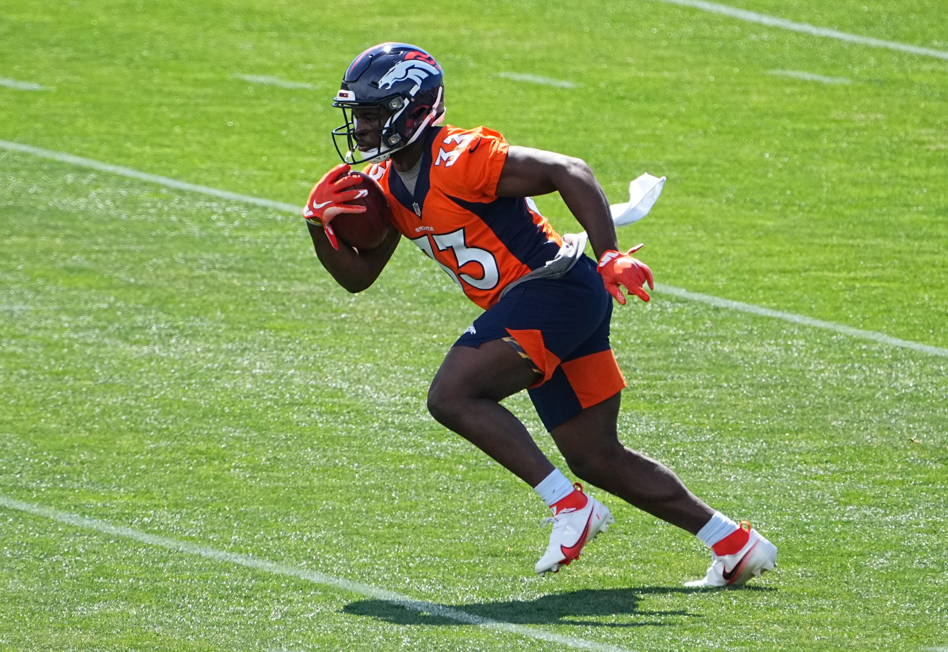 Denver Broncos running back Javonte Williams during organized team activities at the UCHealth Training Center.
