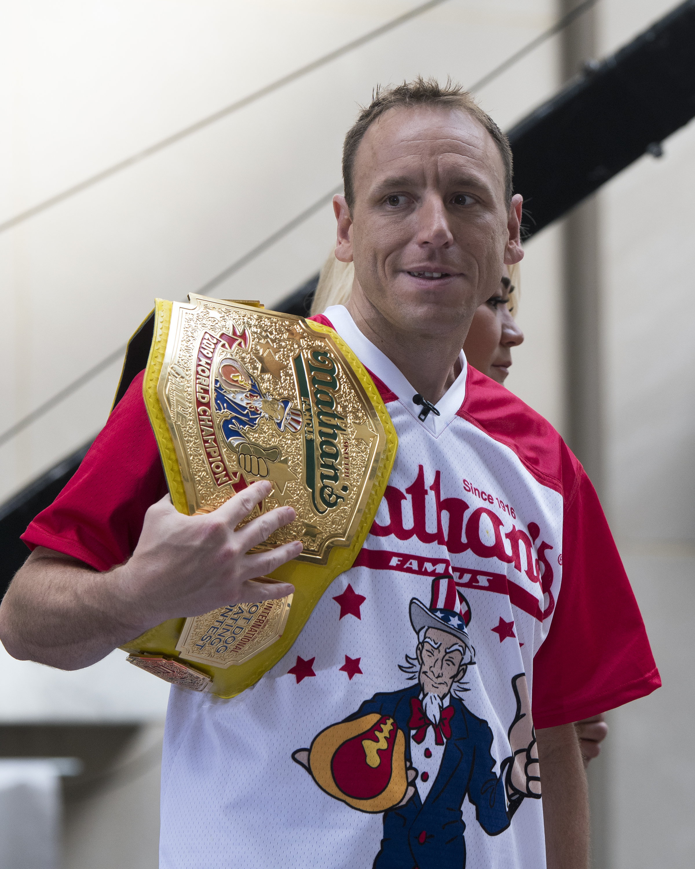 Nathan's Famous Hot Dog Eating Champion Joey Chestnut attends the Today Show at Rockefeller Plaza on July 05, 2019 in New York City.