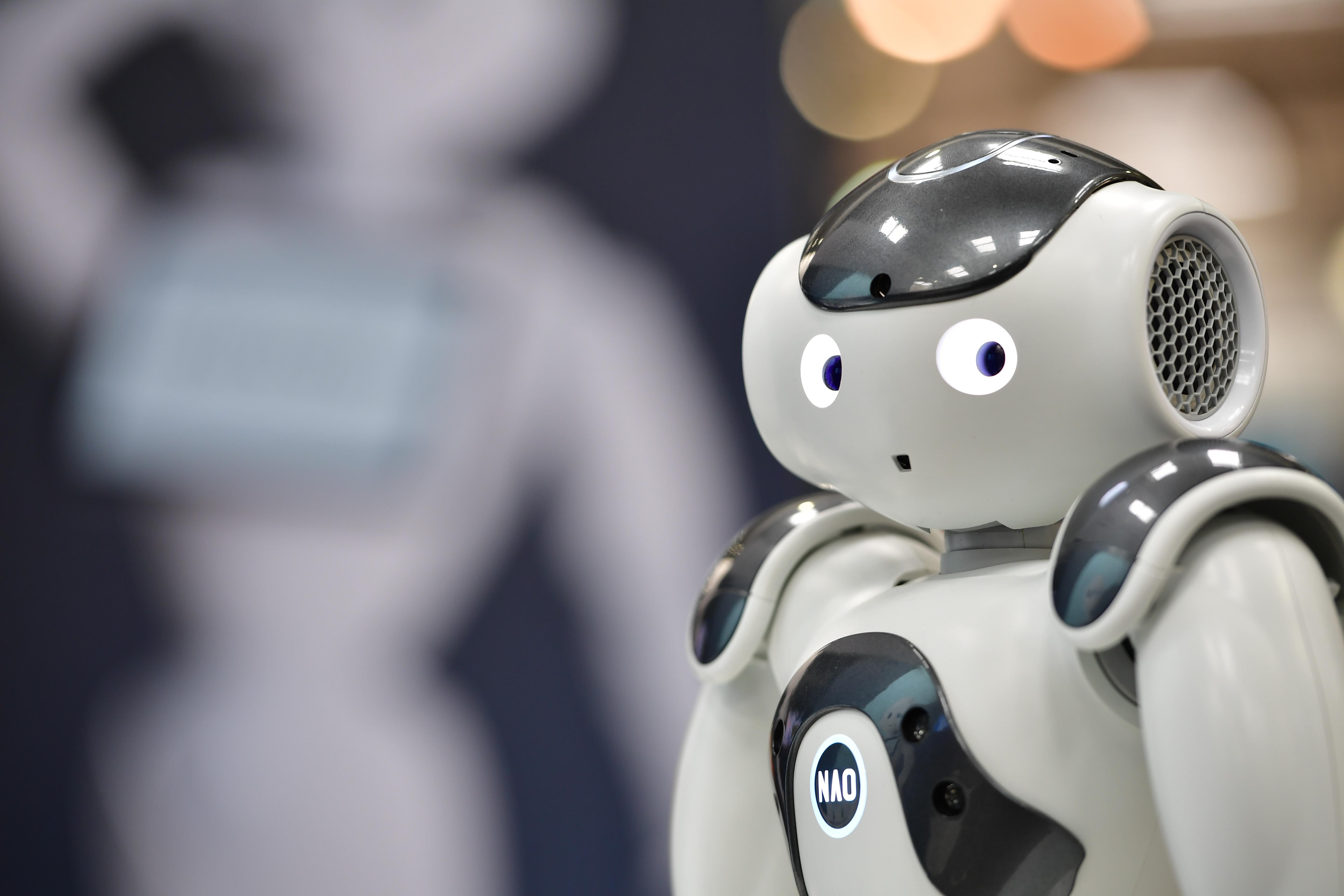 A robot looking at the camera.