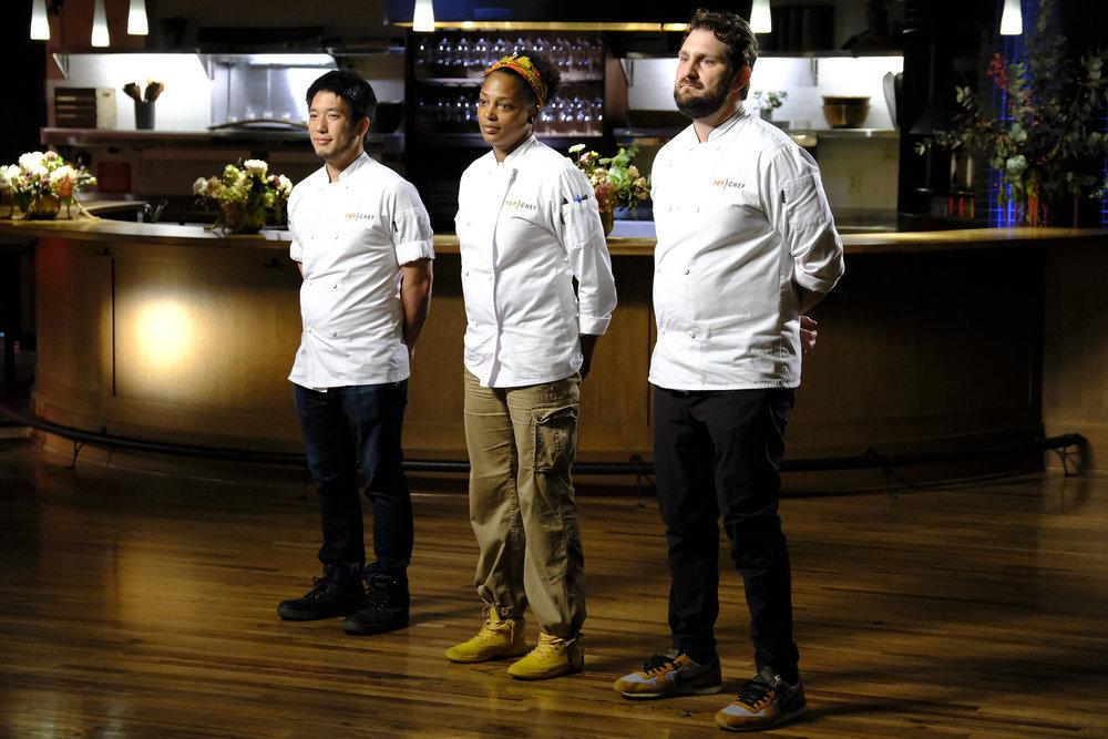 The three finalists of Top Chef: Portland: Shota Nakajima, Dawn Burrell, and Gabe Erales