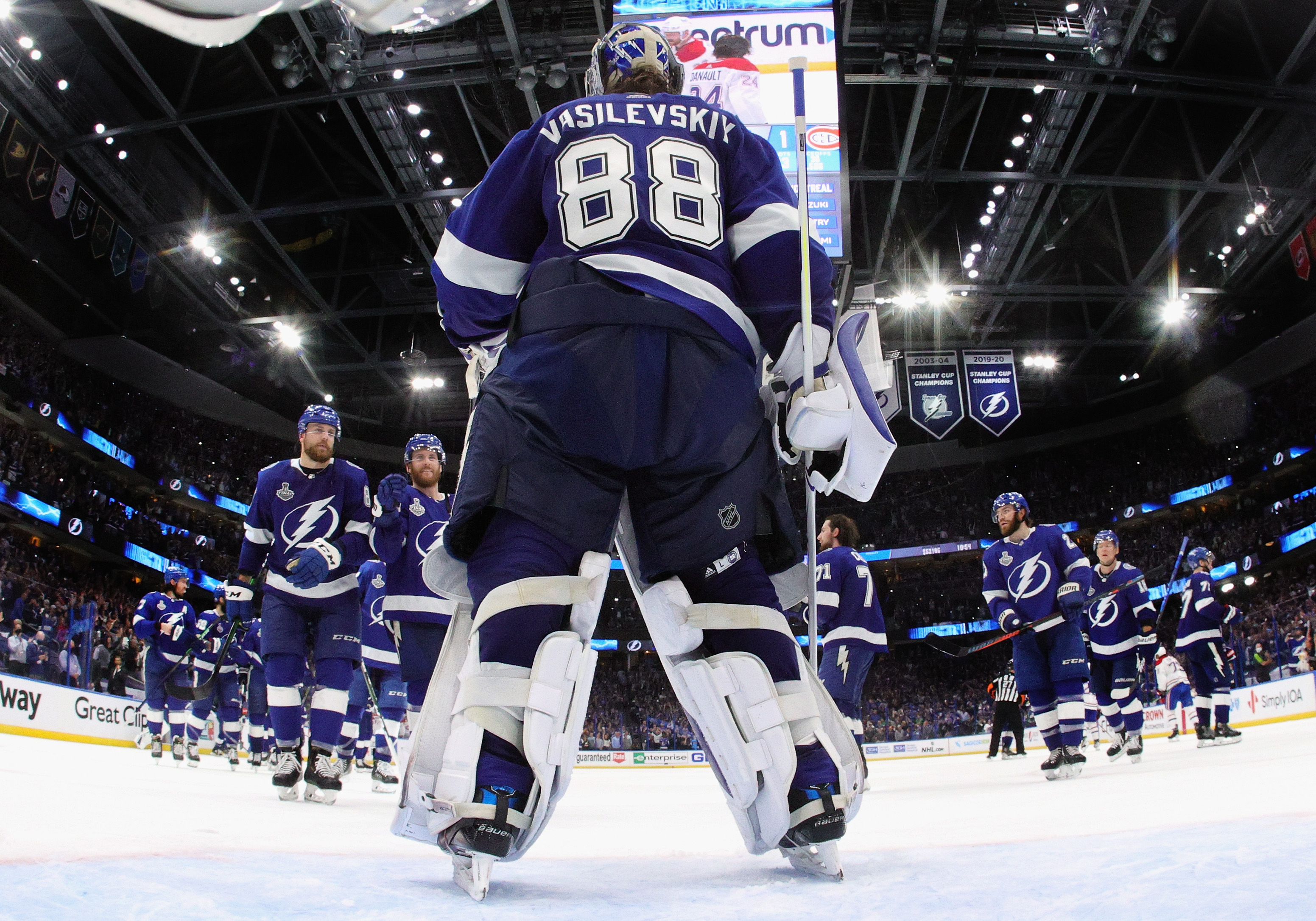 Andrei Vasilevskiy and the Tampa Bay Lightning celebrate their victory over the Montreal Canadiens in Game Two of the 2021 NHL Stanley Cup Final at the Amalie Arena on June 30, 2021 in Tampa, Florida.