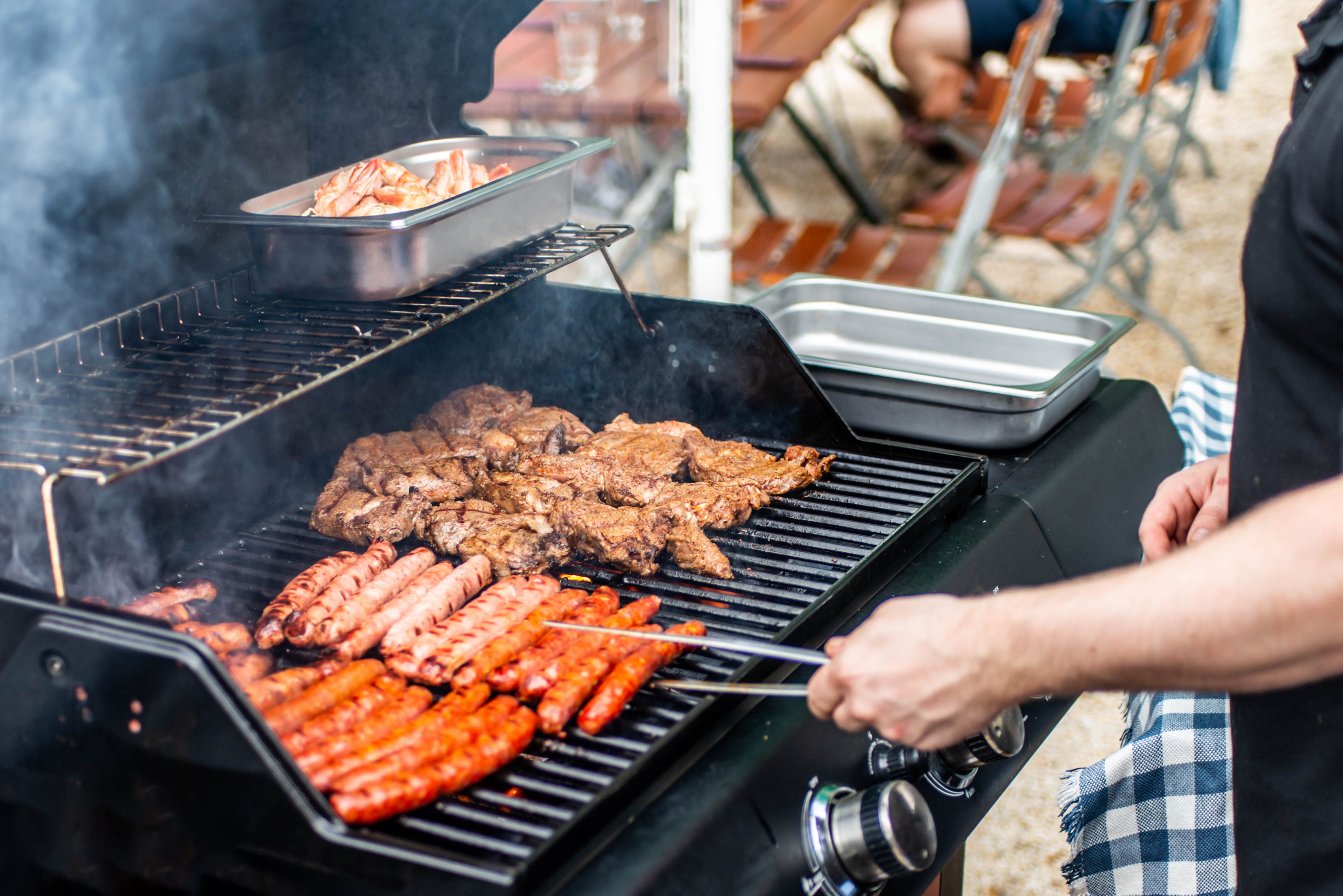 Ground beef and pork should be cooked to an internal temperature of at least160°Fwhile steaks and roasts should be cooked to at least 145°Fand allow to rest for three minutes after removal from the grill.
