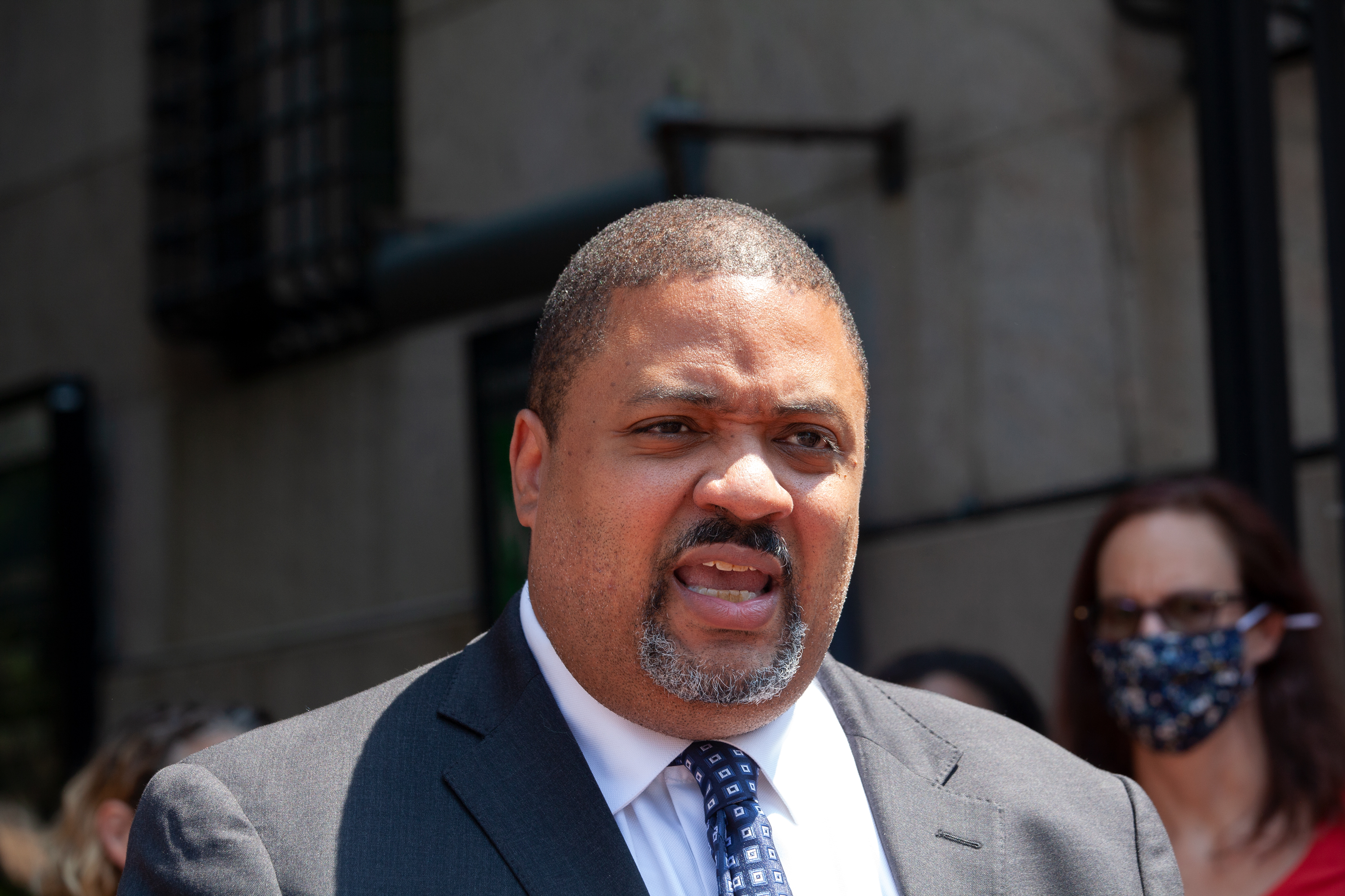 Manhattan district attorney candidate Alvin Bragg pushes for the Adult Survivors Act during a press conference outside Columbia University, May 26, 2021.