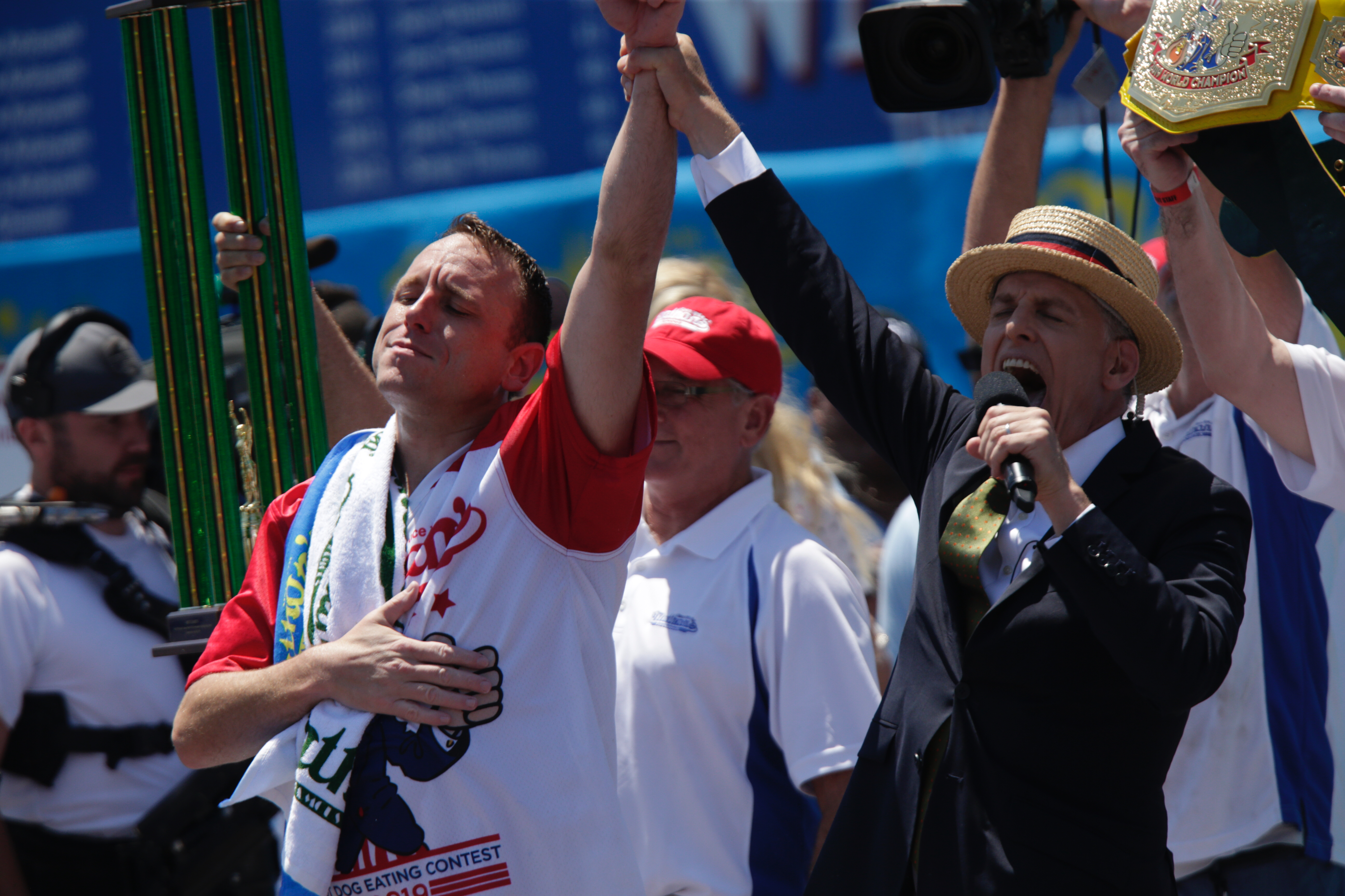 Joey Chestnut reacts after he wins the annual Nathan's hot dog eating contest on July 4, 2019 in New York City. Nathan's held its first hot dog eating contest in Coney Island on July 4, 1916.