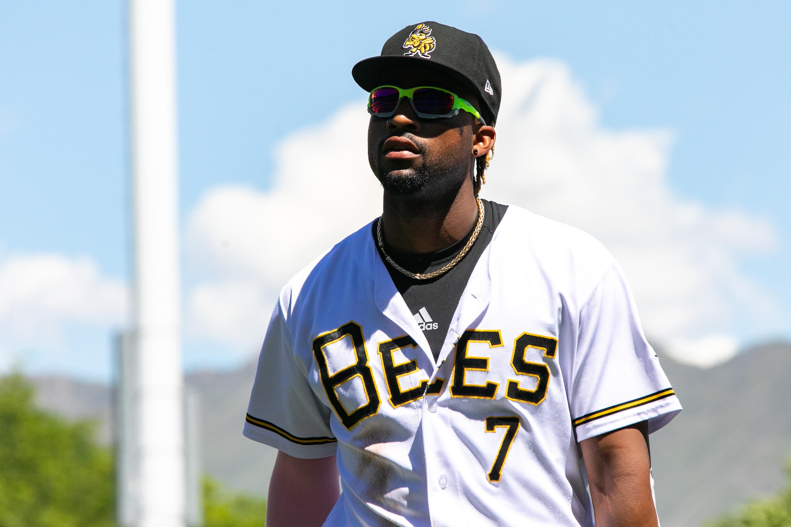 Salt Lake Bees' Jo Adell walks off the field at Smith's Ballpark in Salt Lake City.