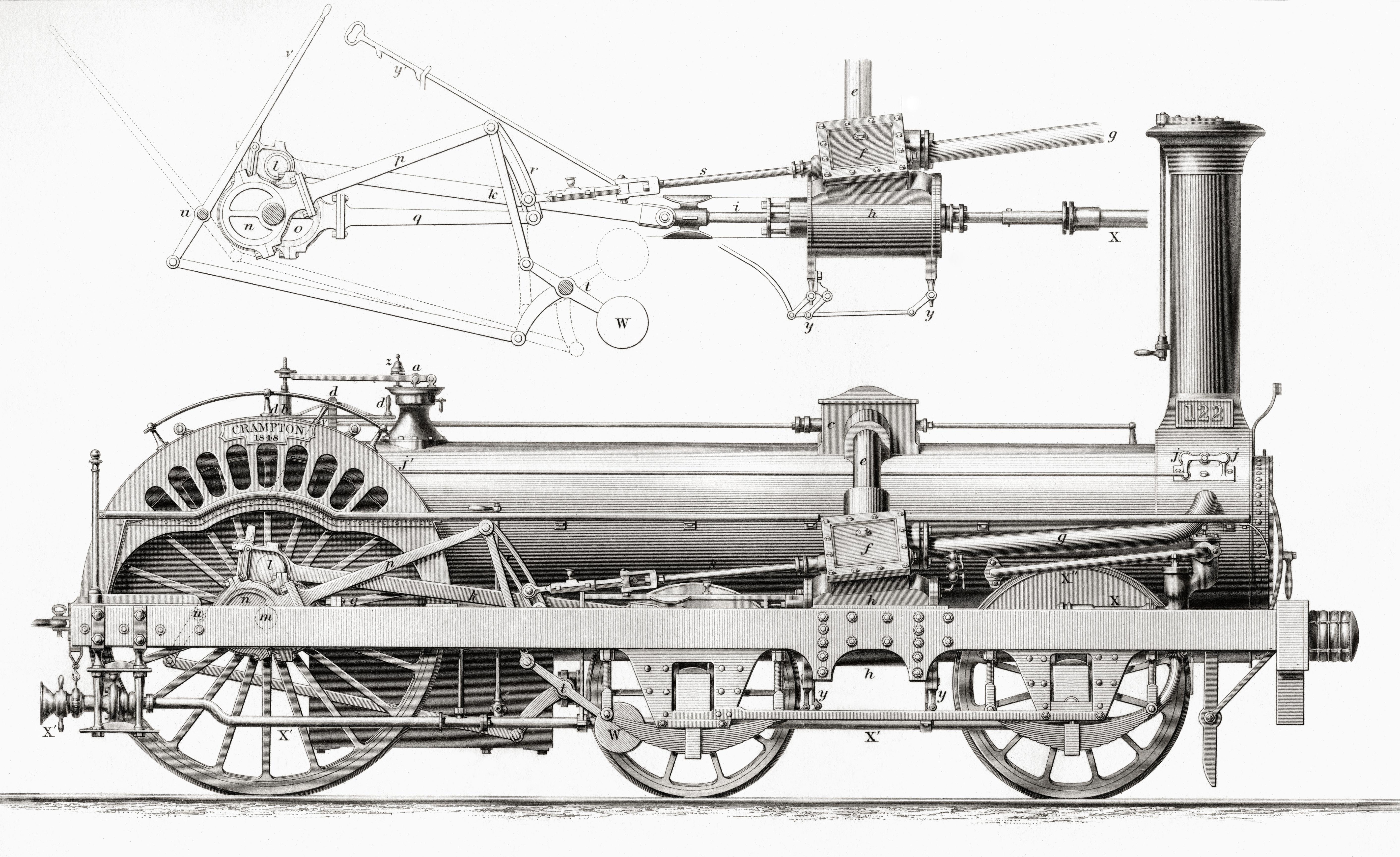 Crampton's Railway Steam Locomotive Engine
