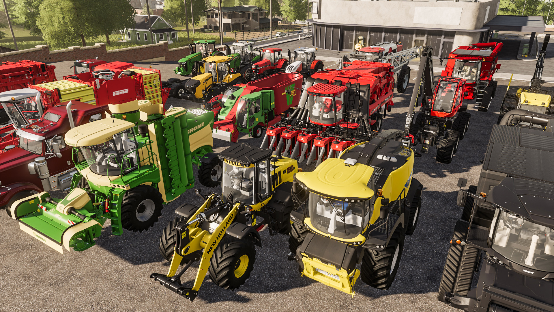 a bunch of tractors in a parking lot in farming simulator 19
