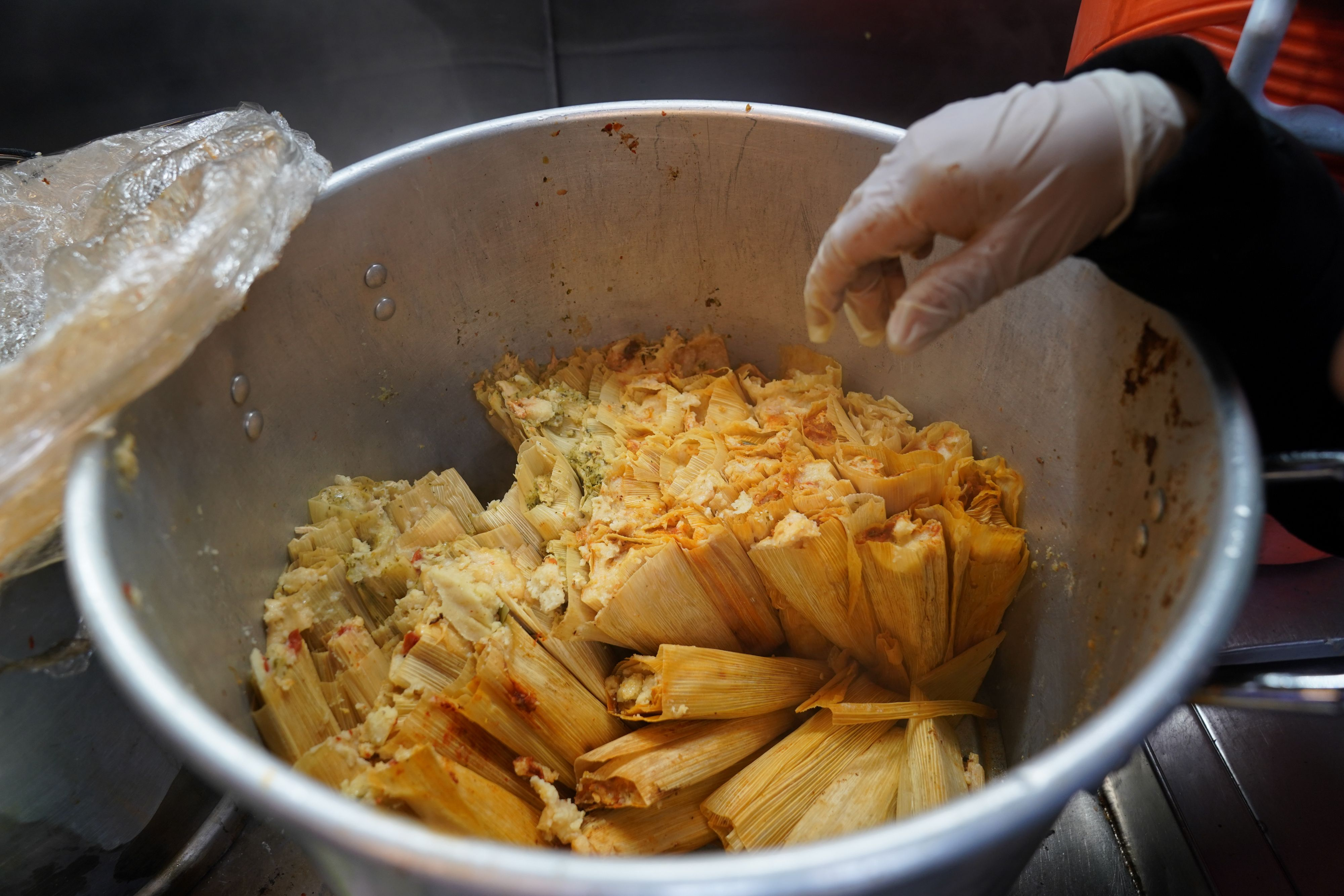 A gloved hand reaches into a steaming stainless steel pot of tamales, which are still wrapped in their husks