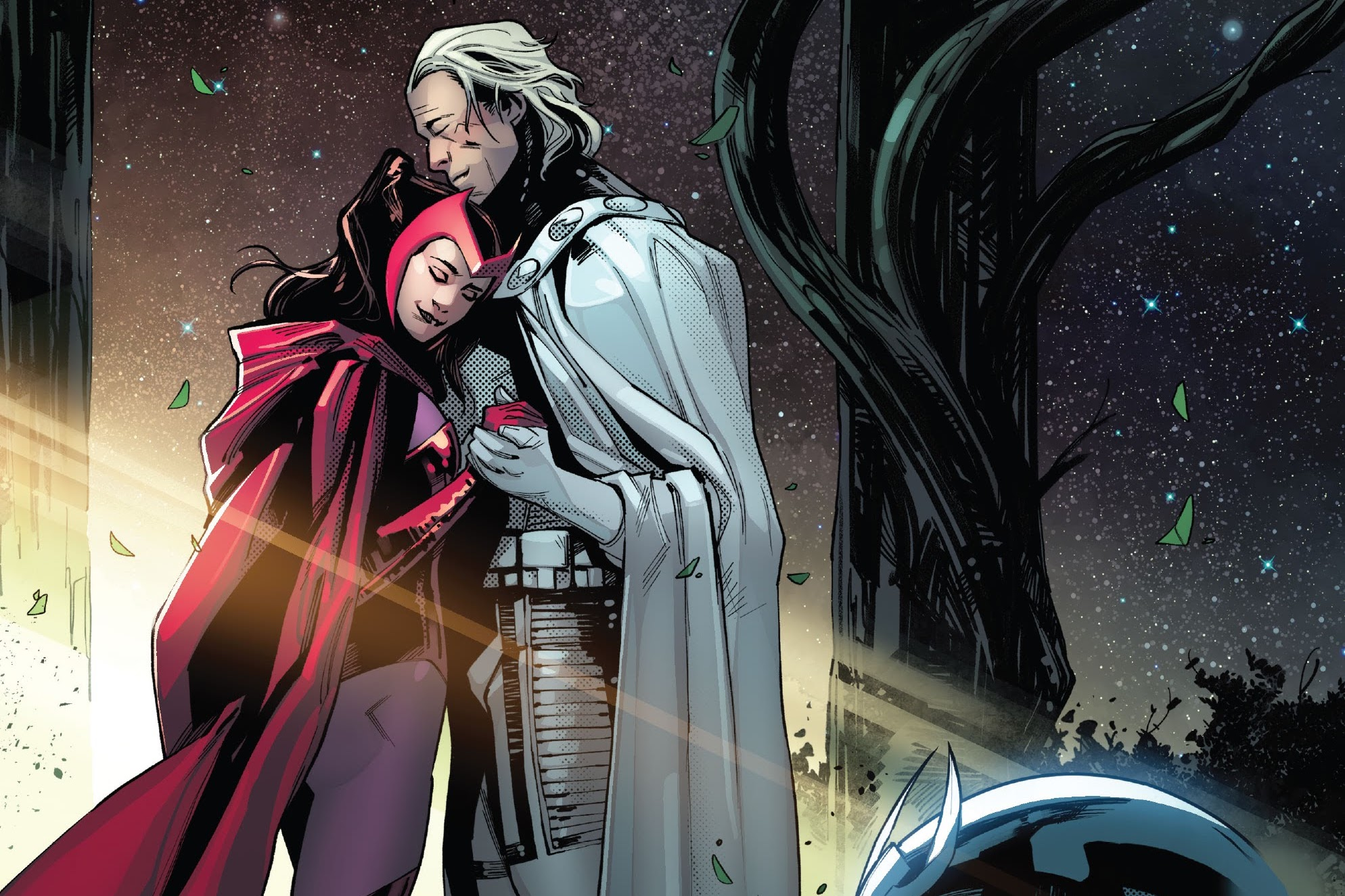 Magneto and Wanda Maximoff/Scarlet Witch embrace in SWORD #6 (2021).