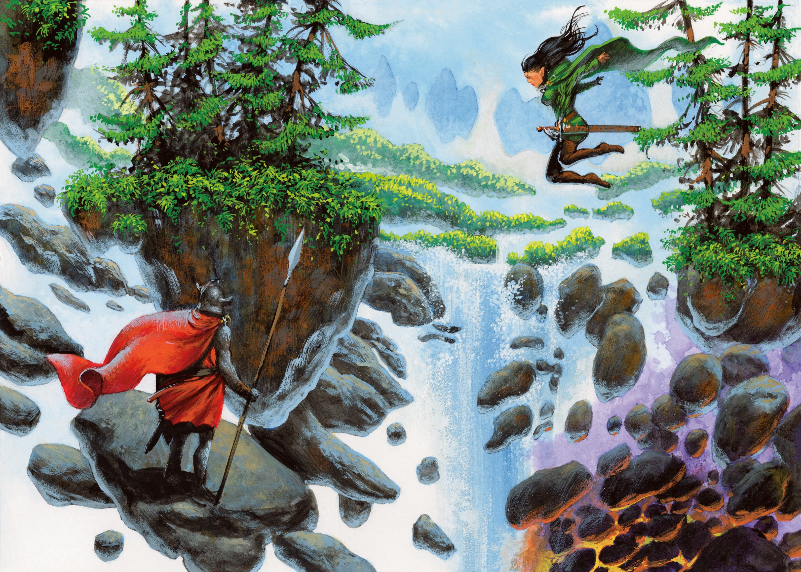 Adventurers traverse a landscape filled with floating fragments of a waterfall vista.