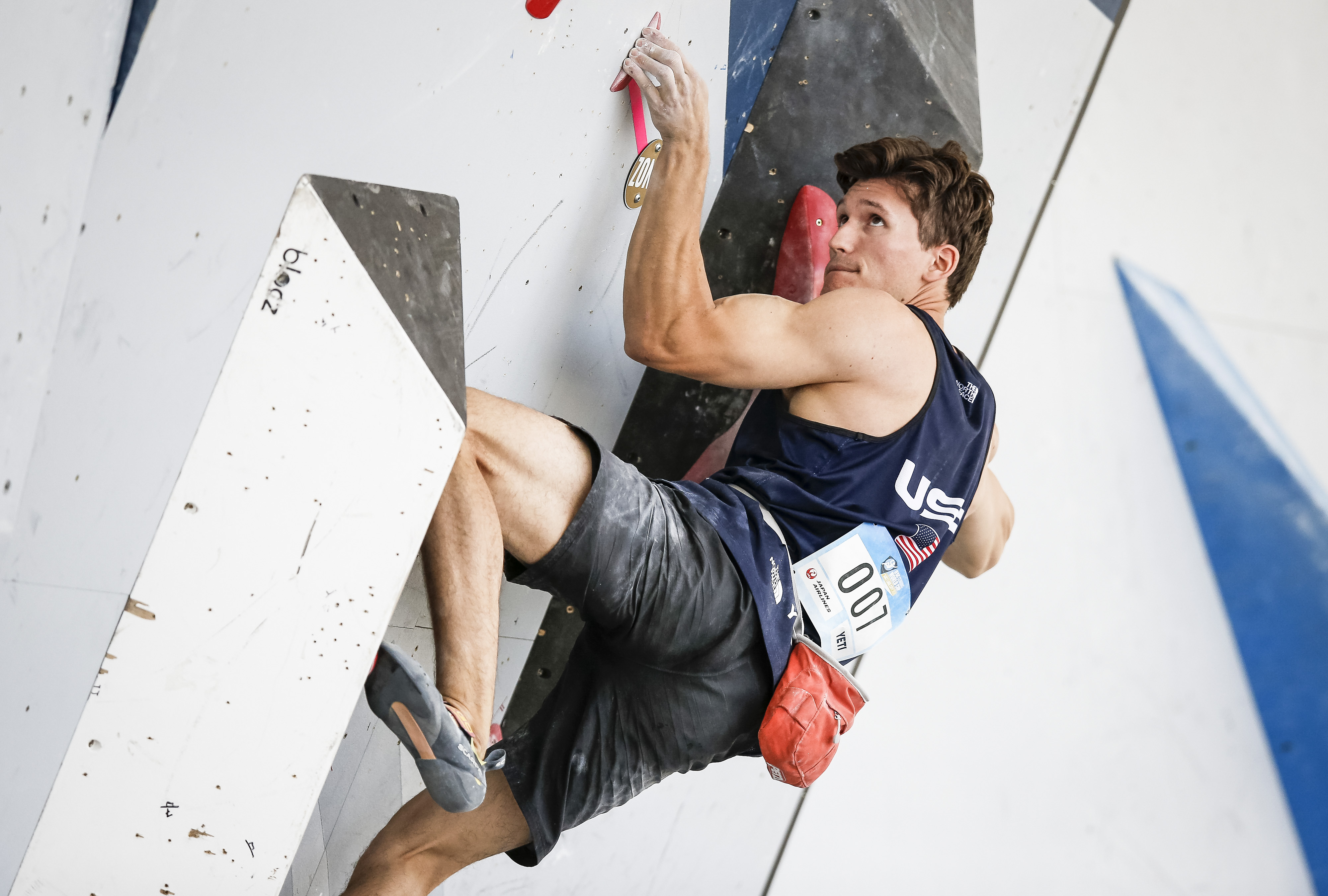 """""""The hands are our main tool,"""" says U.S. Olympic climber Nathaniel Coleman, seen here during the bouldering qualifications of the IFSC Climbing World Cup on May 29 in Salt Lake City, Utah."""