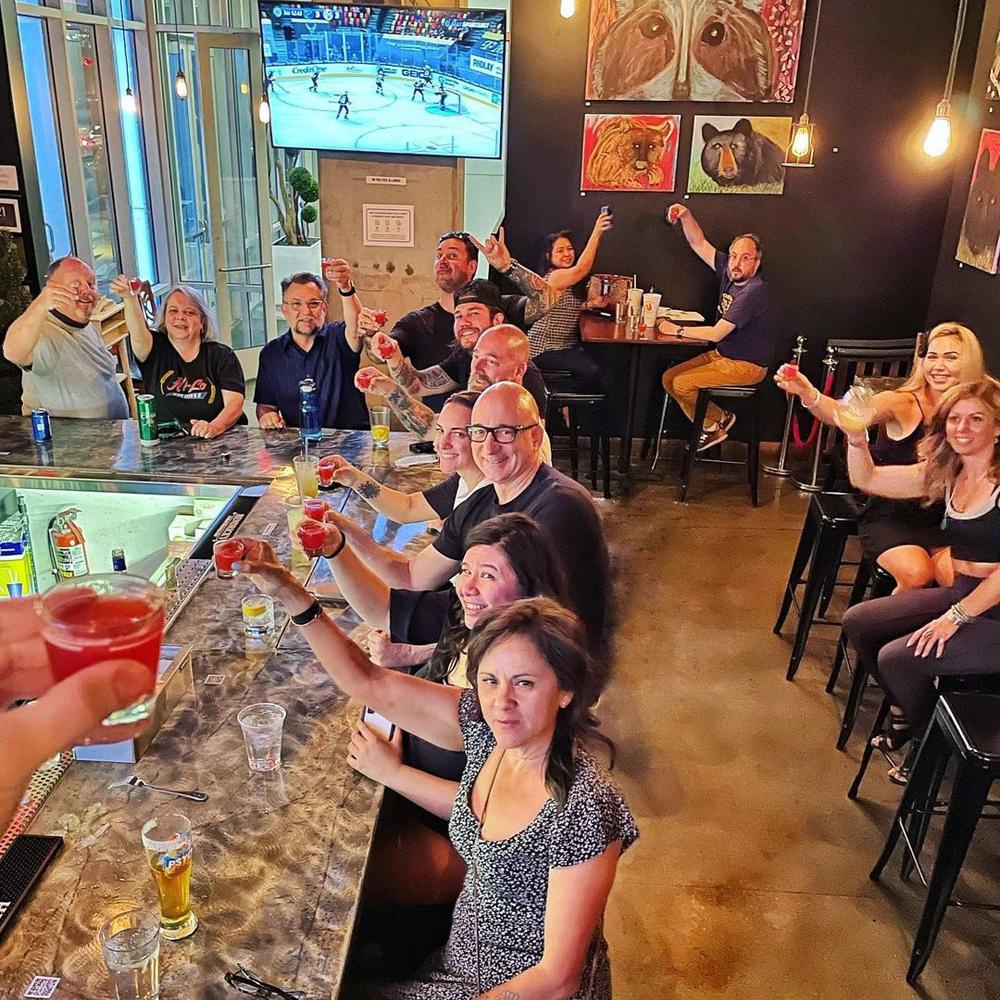 The bar scene at downtown's Flock & Fowlduring a Vegas Golden Knights hockey game.