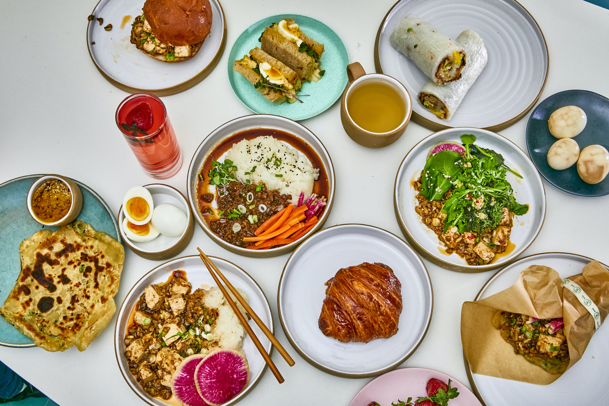 a spread of dishes from Local Roots cafe