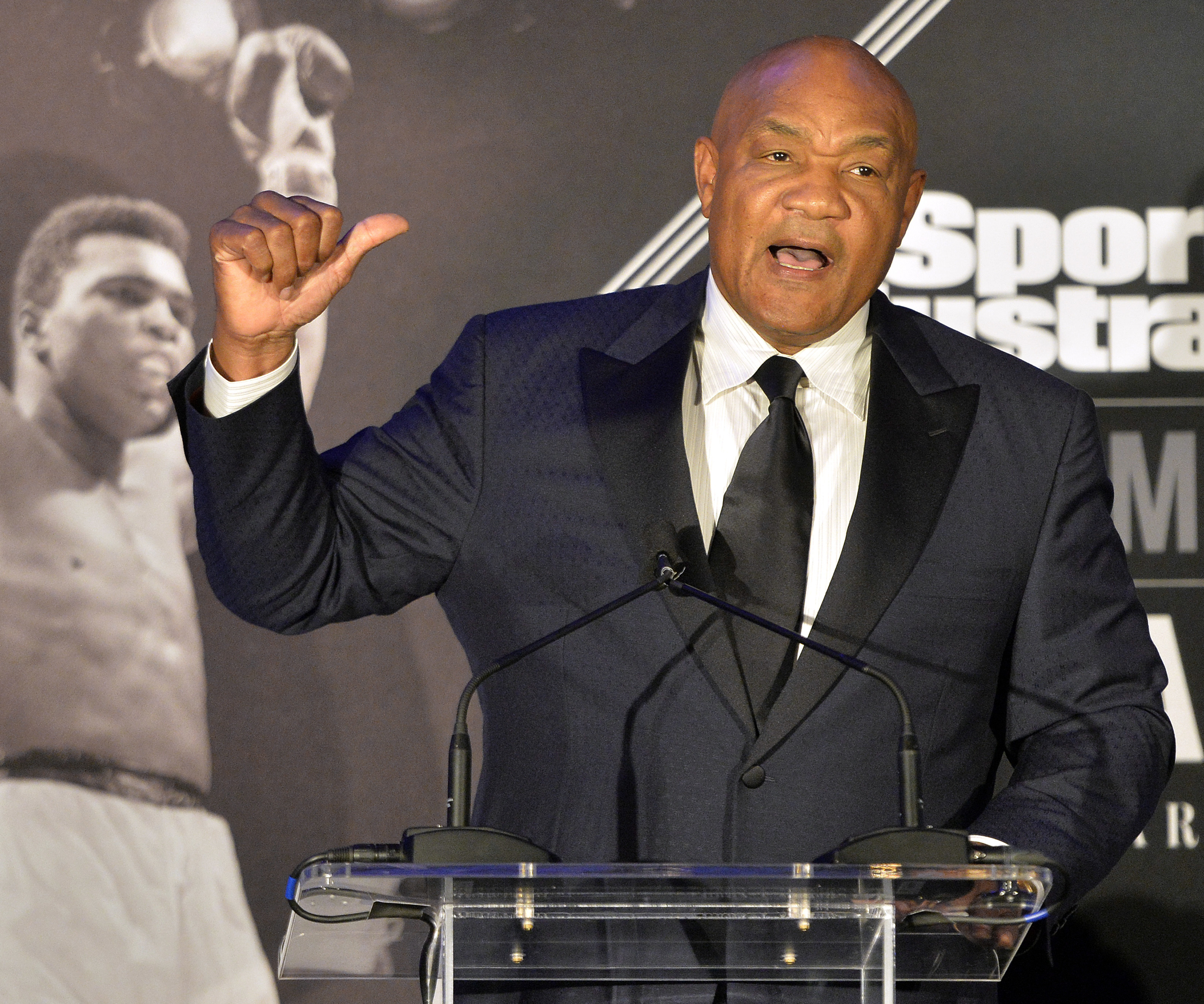 Former heavyweight boxing champion George Foreman speaks at the Sports Illustrated Legacy Awards in Louisville, Ky., in 2015.