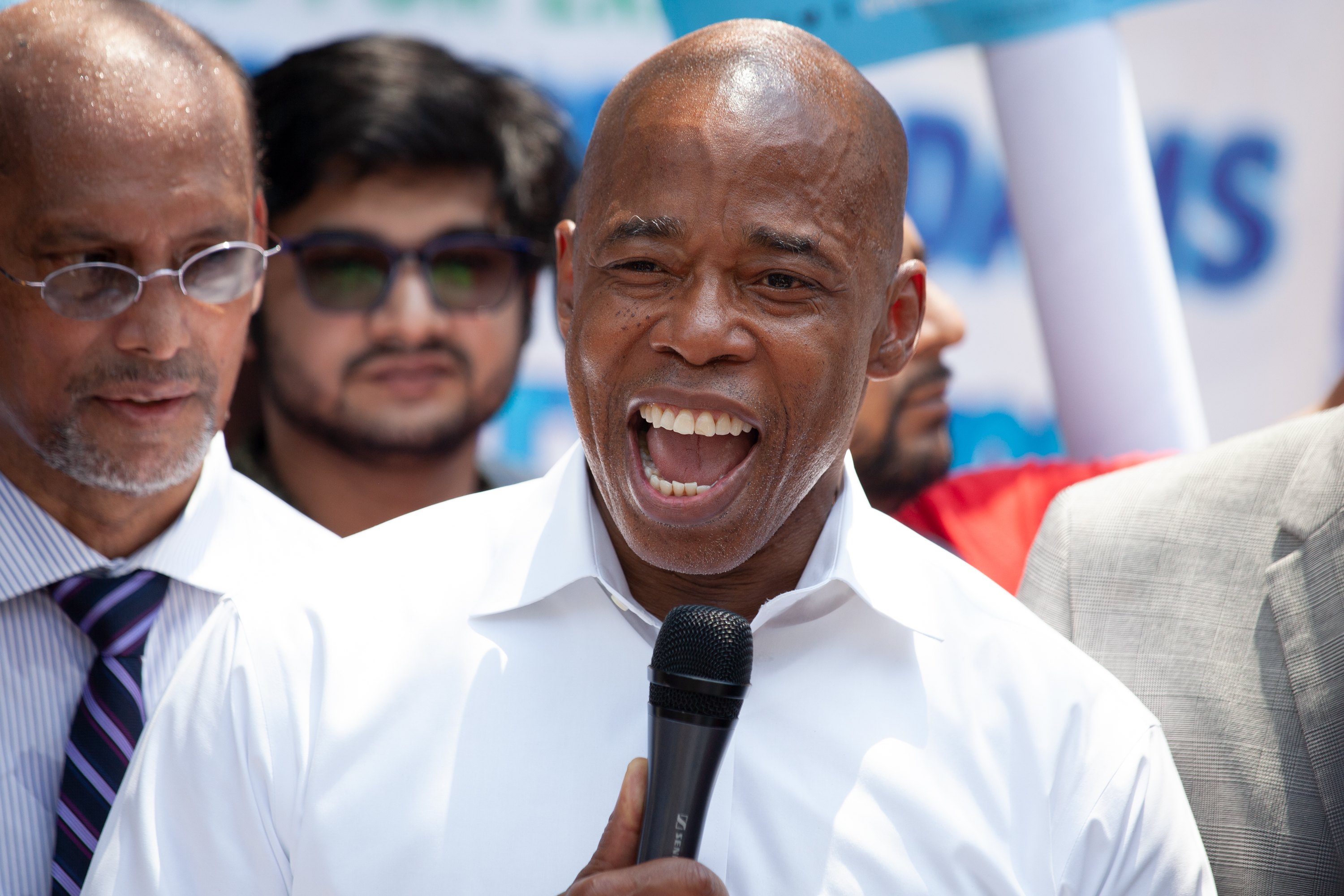 Brooklyn borough president and mayoral candidate Eric Adams speaks at a campaign rally in Jackson Heights, June 7, 2021.