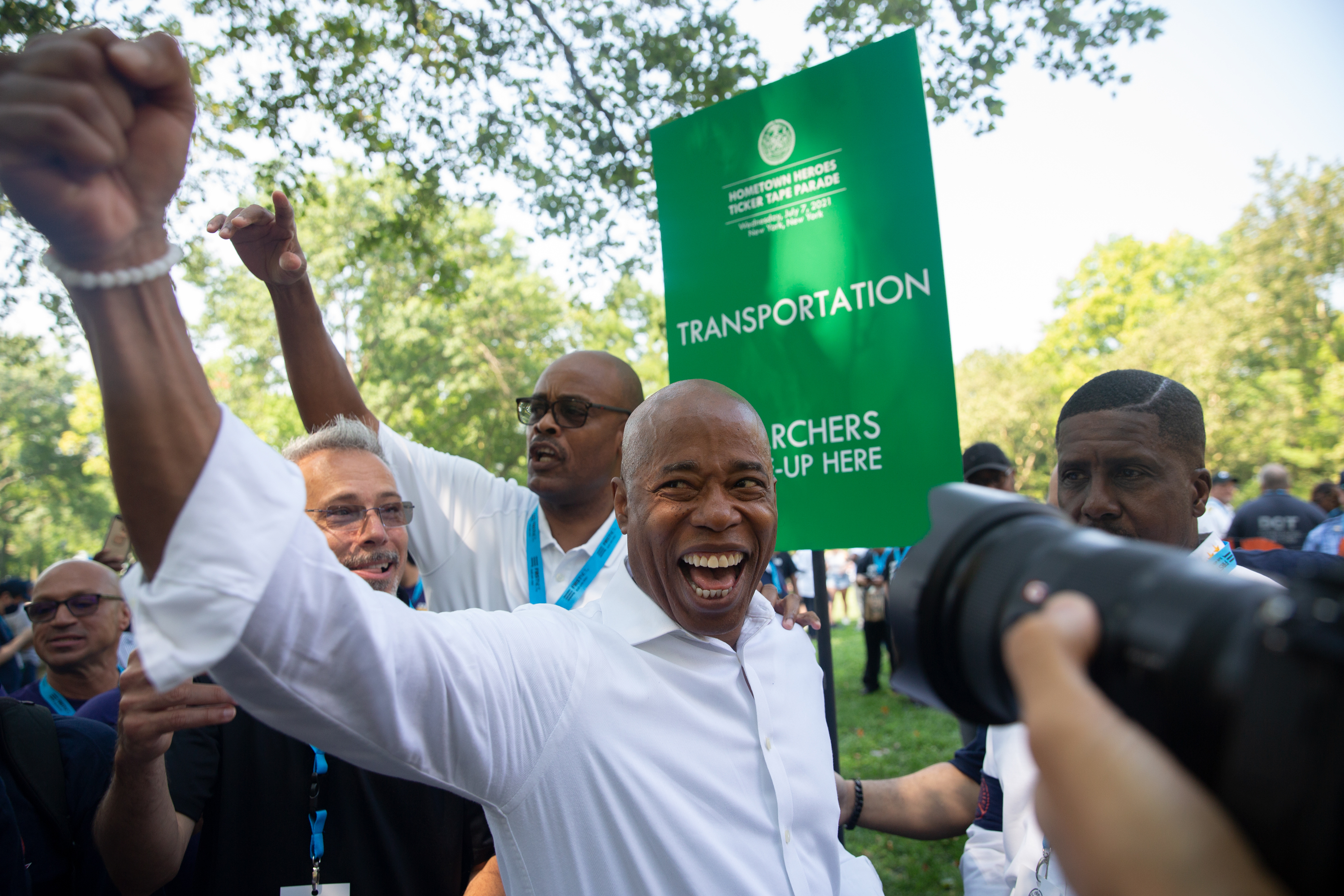 A jubilant Eric Adams greets revelers at the Hometown Heroes Parade in Lower Manhattan, July 7, 2021.
