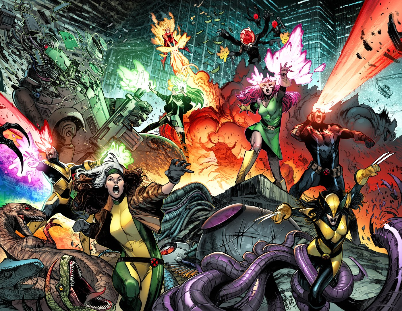 The X-Men — Sunfire, Polaris, Jean Grey, Cyclops, Sync, rogue, and Wolverine (X-23/Laura Kinney) battle all manner of bad guys — dinosaurs, multiarmed gun-toting soldiers, robots, tentacles — across a cityscape on the cover of X-Men #1 (2021).