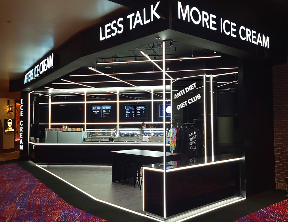 The exterior of Afters Ice Cream, now open inside Virgin Hotels Las Vegas.