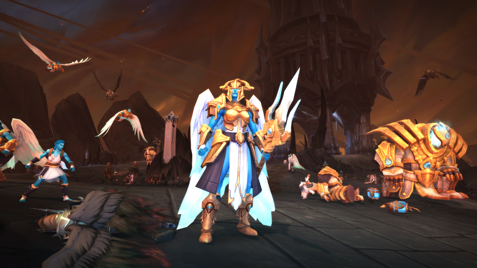 World of Warcraft: Shadowlands - A Kyrian, in gold and white armor, battles through the death-themed armies of the Maw