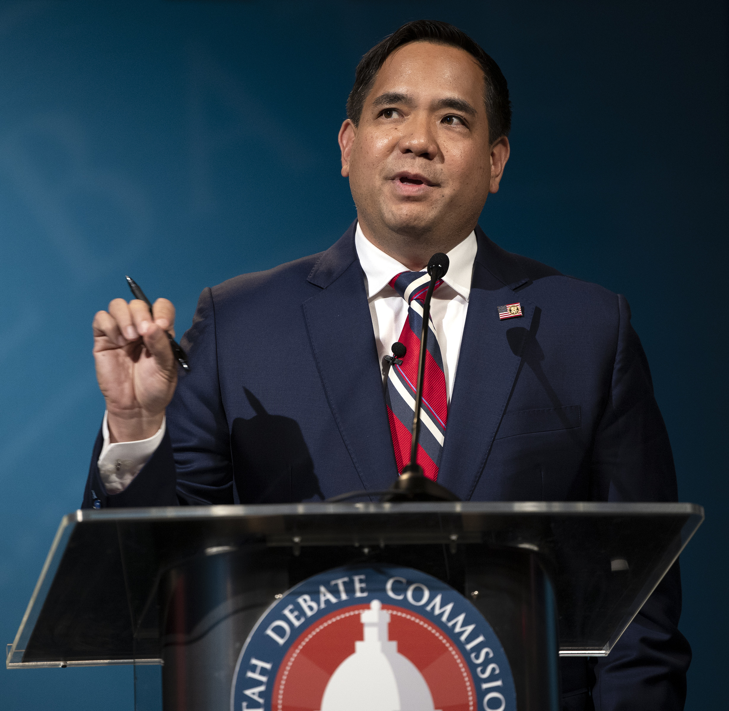 Utah Attorney General Sean Reyesanswers a question during a debate in Salt Lake City on Wednesday, Oct. 21, 2020.