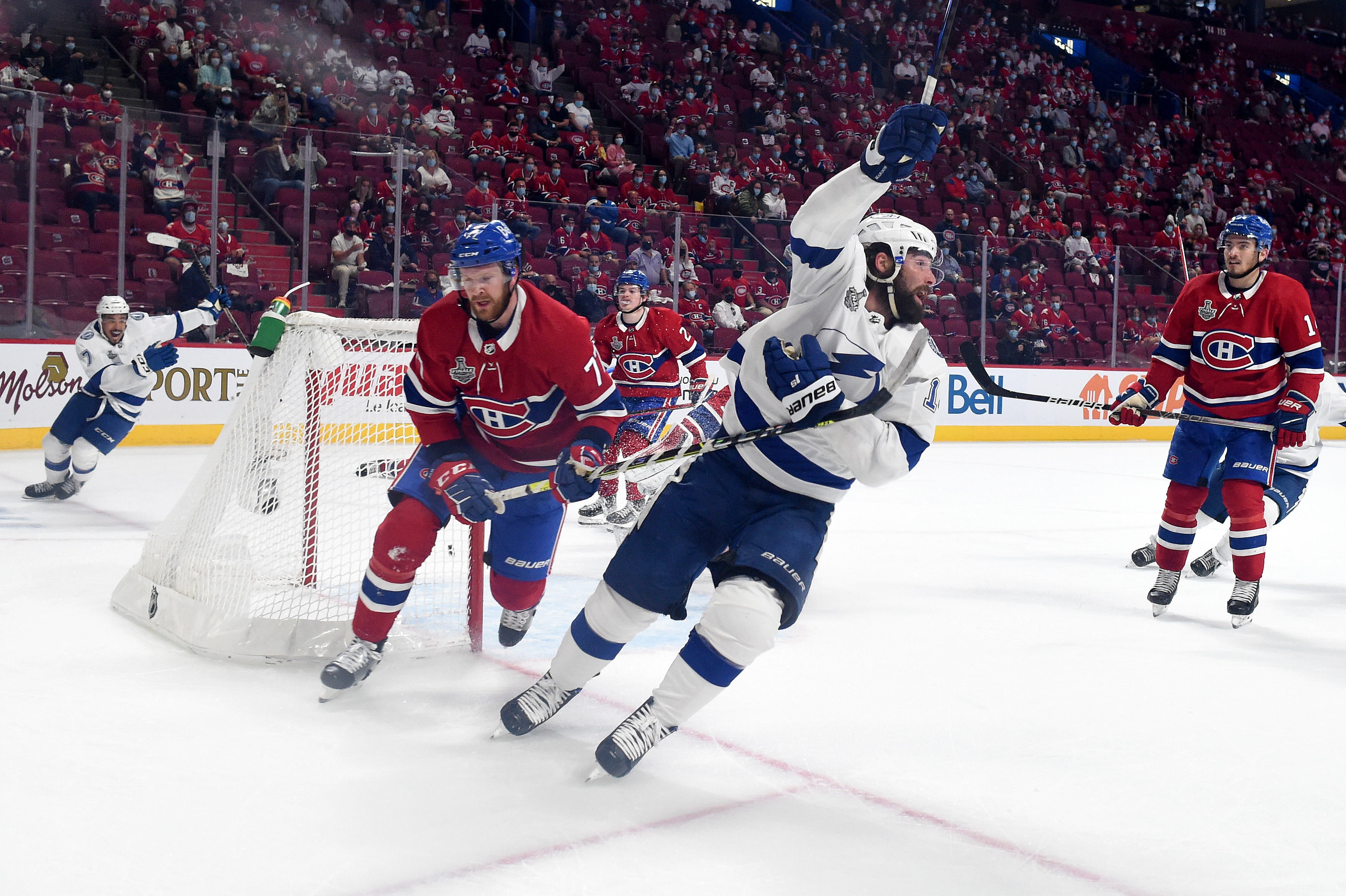 Pat Maroon of the Tampa Bay Lightning celebrates after scoring a goal past Carey Price of the Montreal Canadiens during the third period in Game Four of the 2021 NHL Stanley Cup Final at the Bell Centre on July 05, 2021 in Montreal, Quebec, Canada.