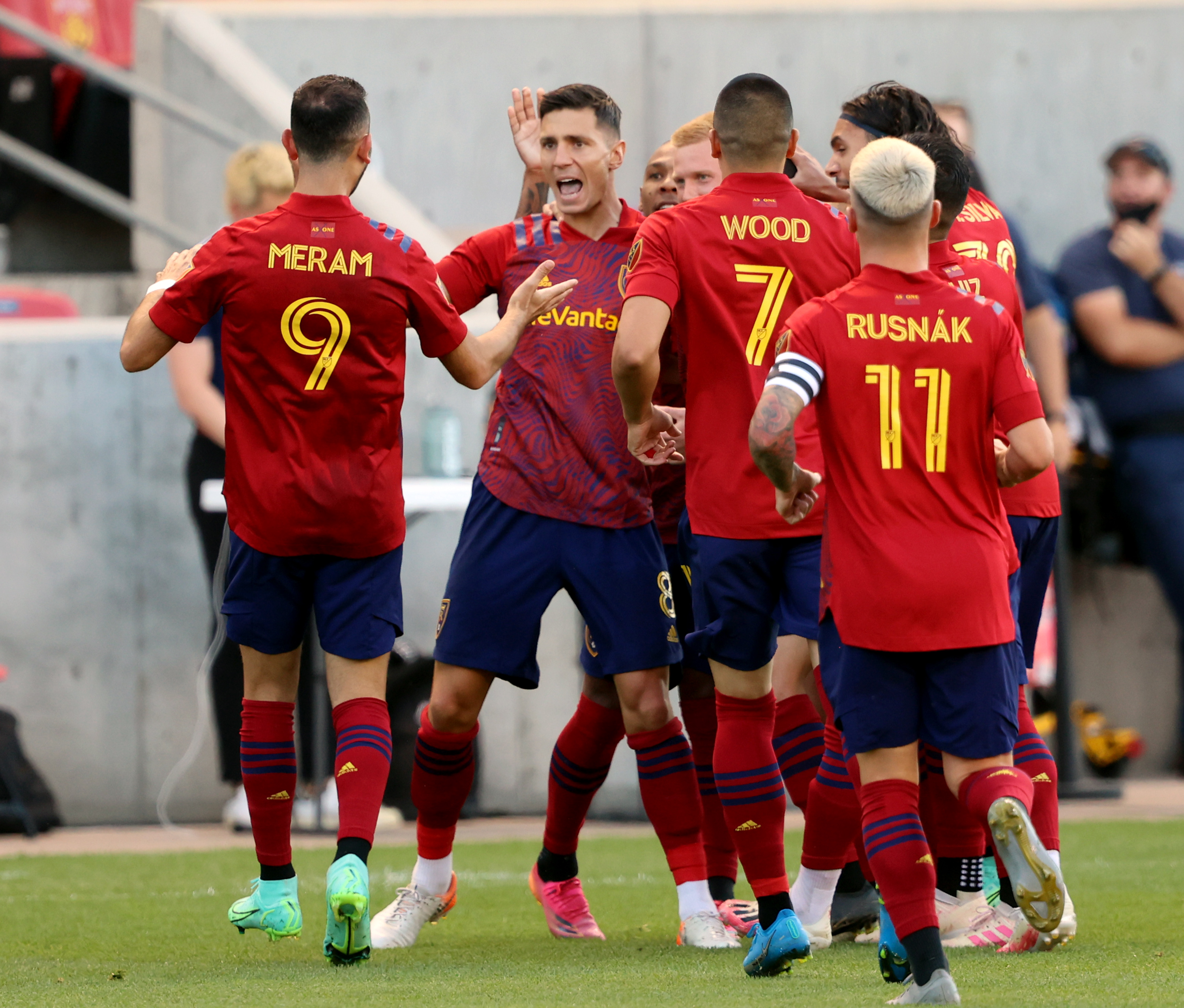 Real Salt Lake midfielder Damir Kreilach (8) celebrates a quick goal with teammates as Real Salt Lake and Vancouver FC play at Rio Tinto Stadium in Sandy on Wednesday, July 7, 2021.