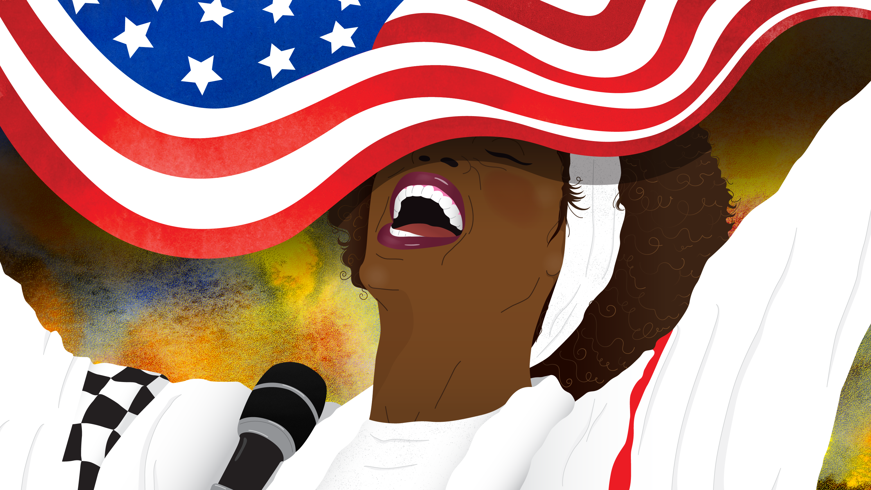 Illustration of Whitney Houston singing with the top half of her face obscured by a waving American flag.