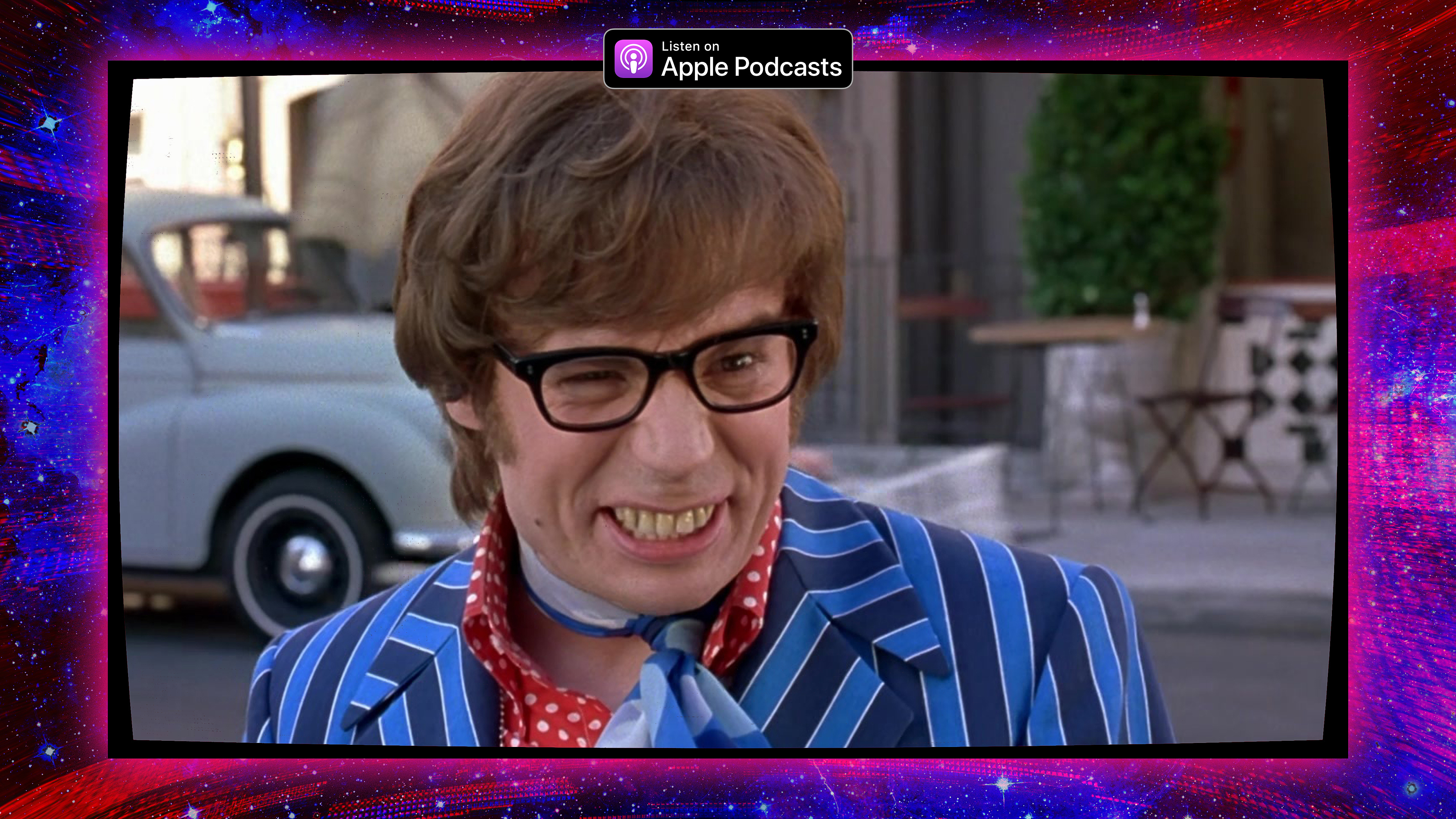 Graphic featuring Mike Myers Austin Powers character and a photo of Maggie Mae Fish