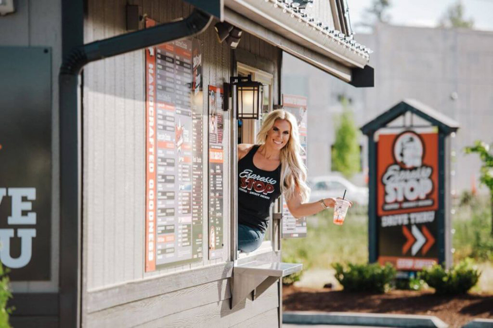 The exterior of a drive-thru, Espresso Stop coffee shop in Washington State, expanding this year to Las Vegas.