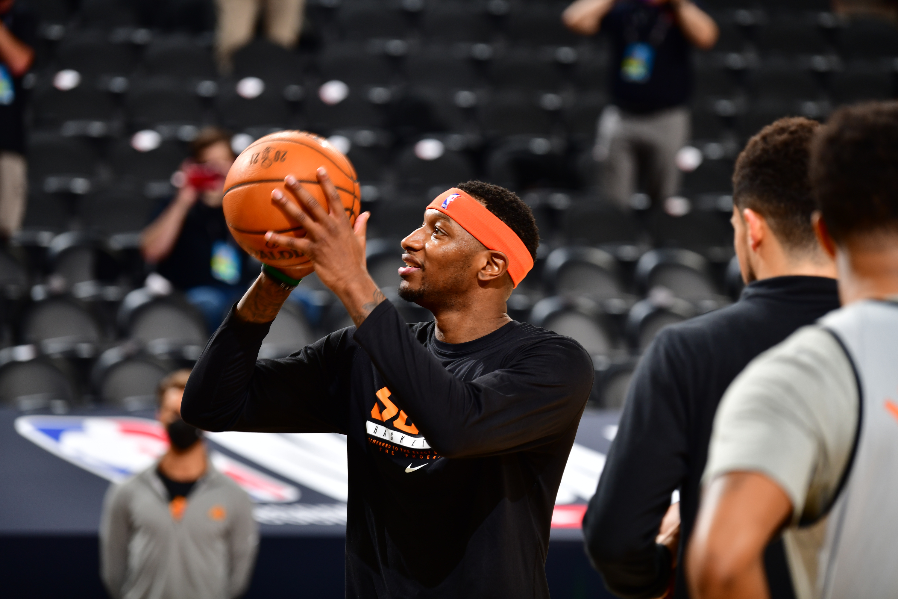 Torrey Craig of the Phoenix Suns during practice and media availability as part of the 2021 NBA Finals on July 5, 2021 at Phoenix Suns Arena in Phoenix, Arizona.