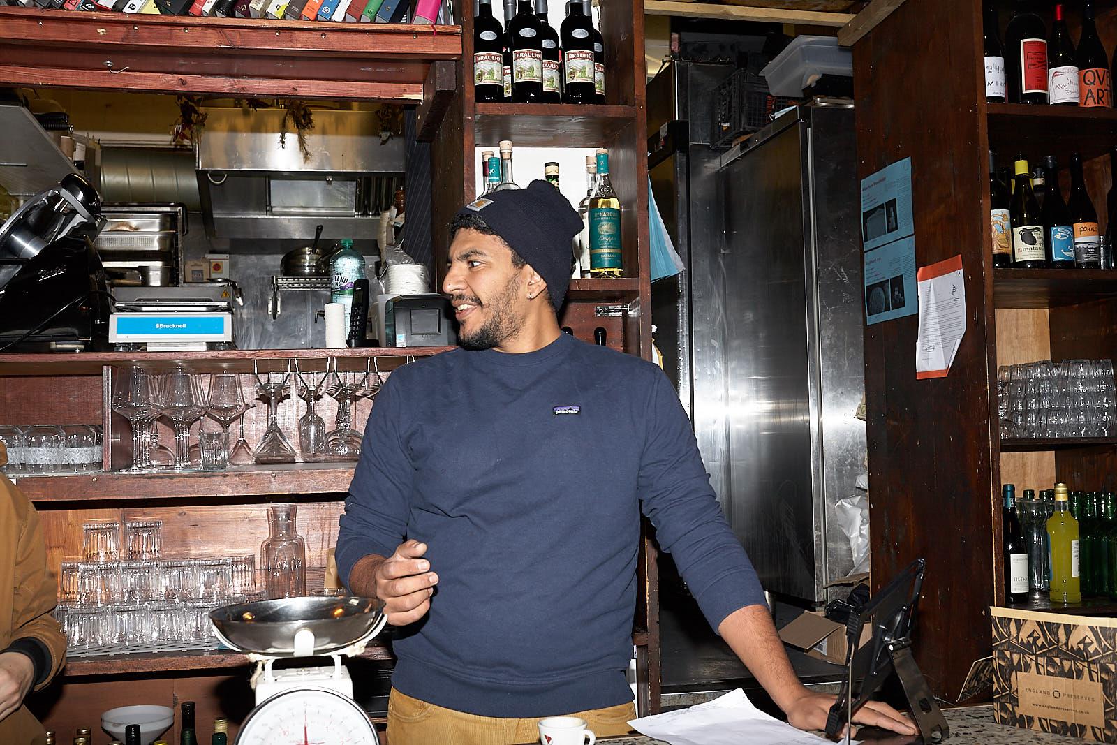 Mitshel Ibrahim at Hackney Italian trattoria Ombra in November after coronavirus national lockdown in England closed restaurants