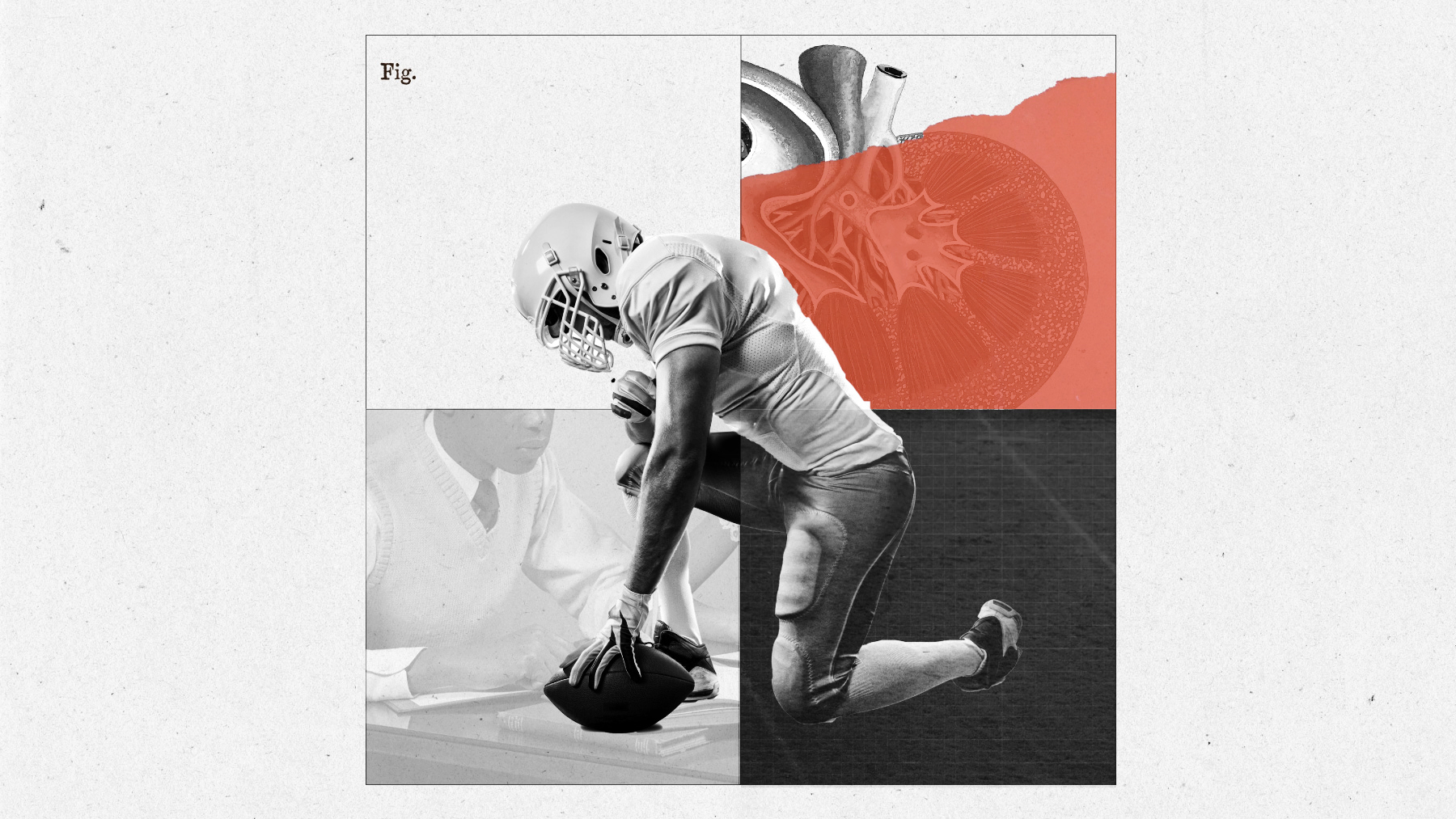 Photo illustration of a uniformed football player kneeling with one hand on a ball on the ground.