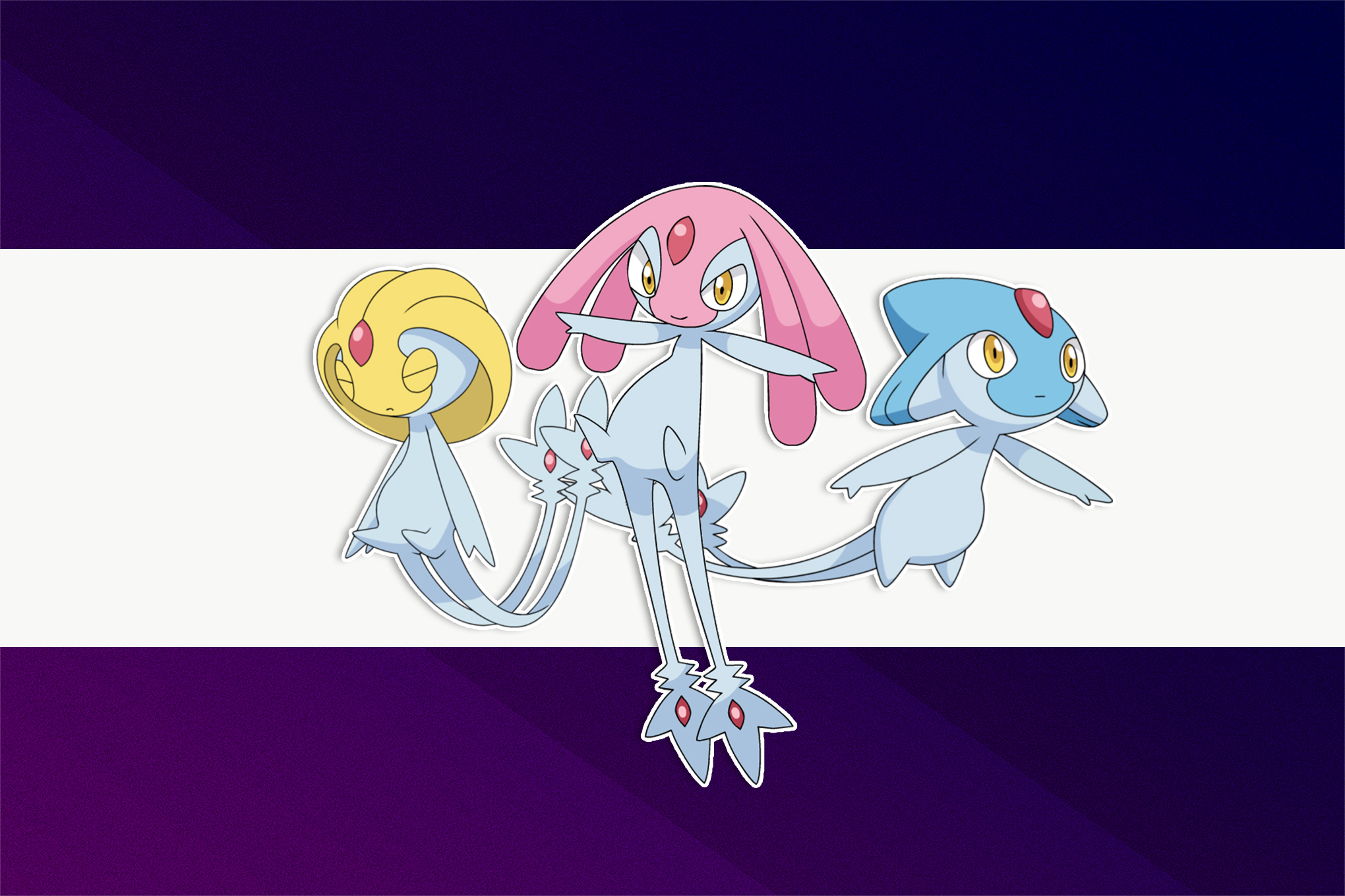 Azelf, Mesprit, and Uxie over a white and purple background