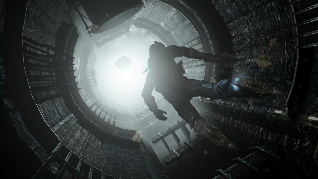 Isaac floats through space in Dead Space 2