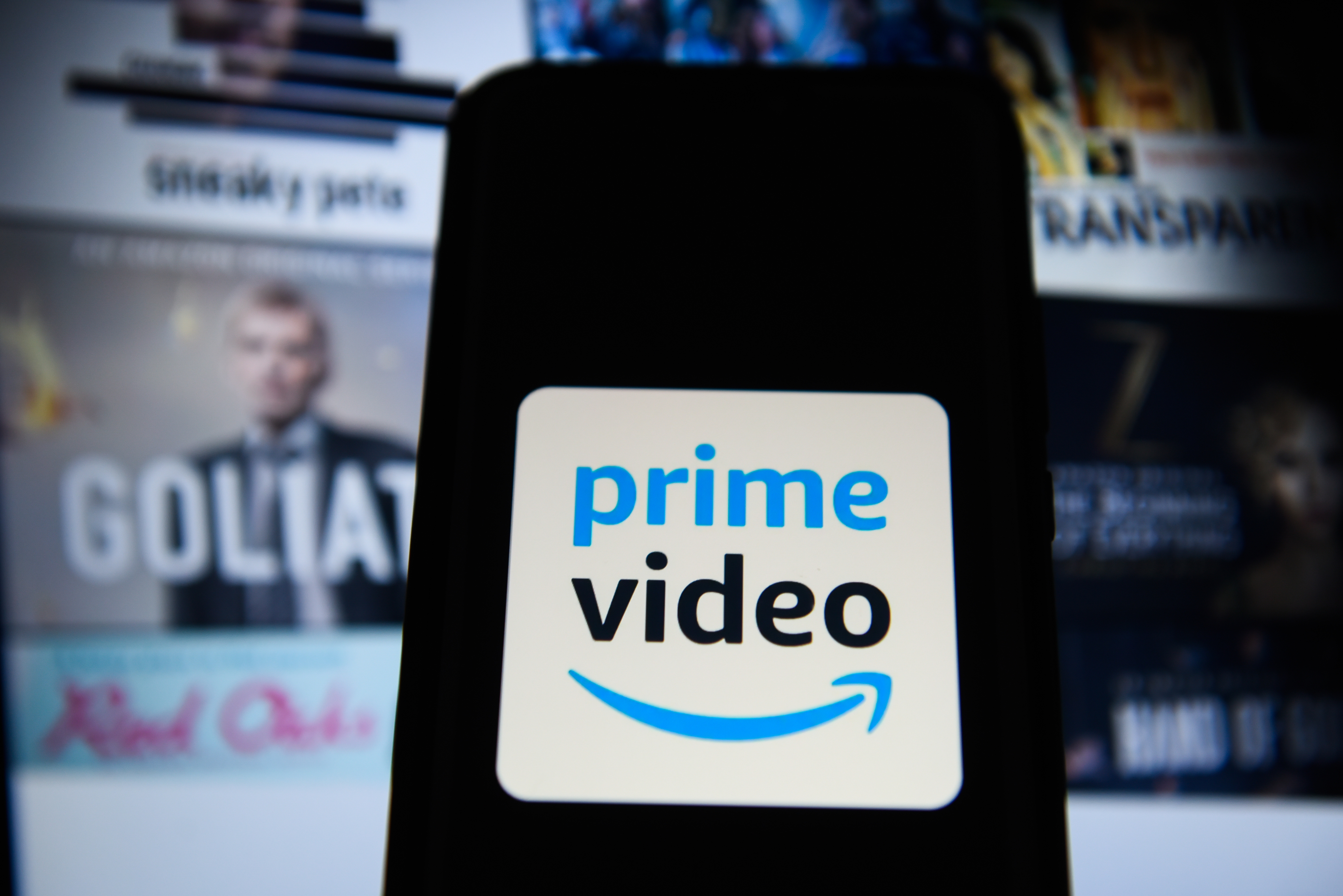 Amazon Prime Video logo is seen on an android mobile phone
