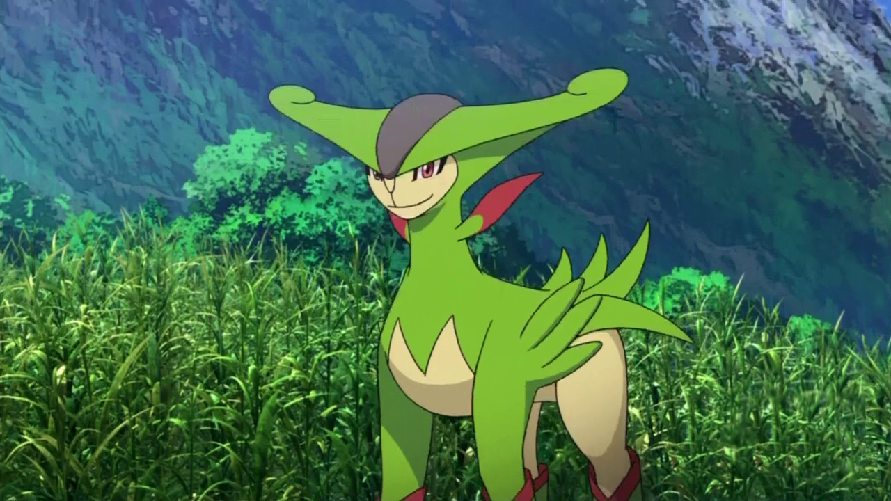 Virizion stands among tall grass in the Pokémon anime