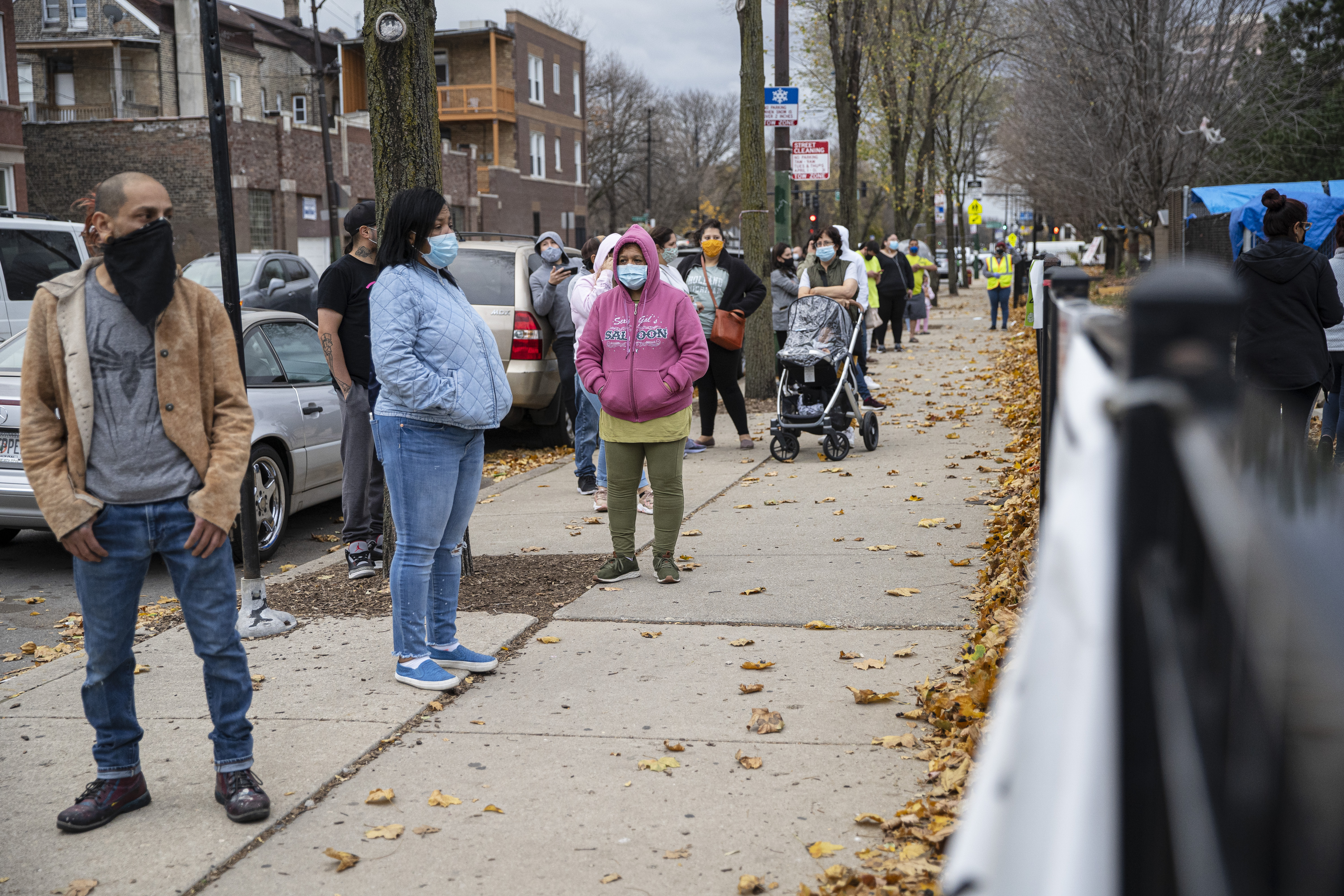 Residents line up for COVID-19 tests last fall at Maria Saucedo Scholastic Academy, at 2850 W. 24th Blvd. Illinois' case positivity rate has doubled over the past two weeks, though it's still very low compared to the worst days of the pandemic.