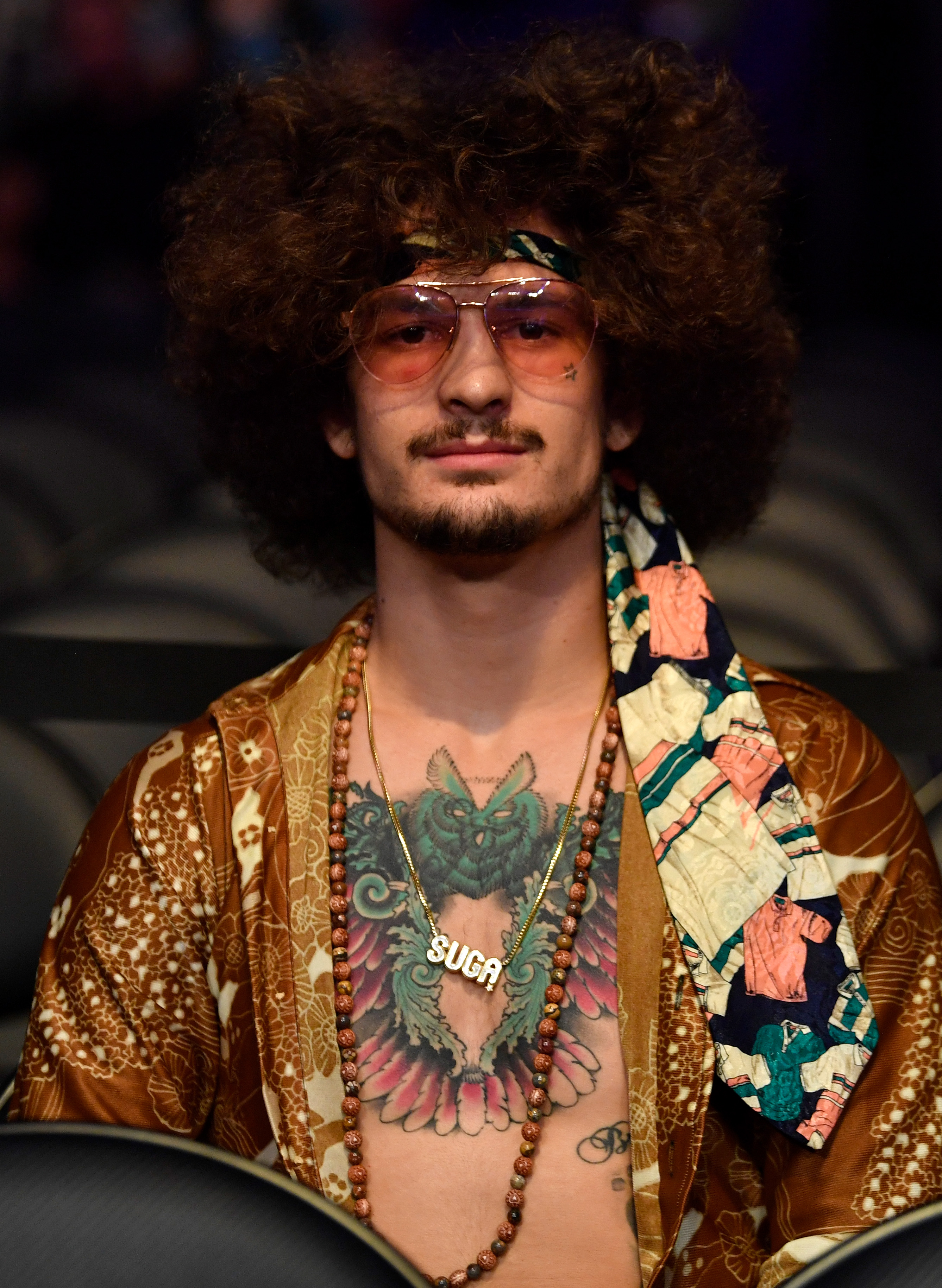 UFC bantamweight Sean O'Malley is seen in attendance during the UFC 227 event inside Staples Center on August 4, 2018 in Los Angeles, California.
