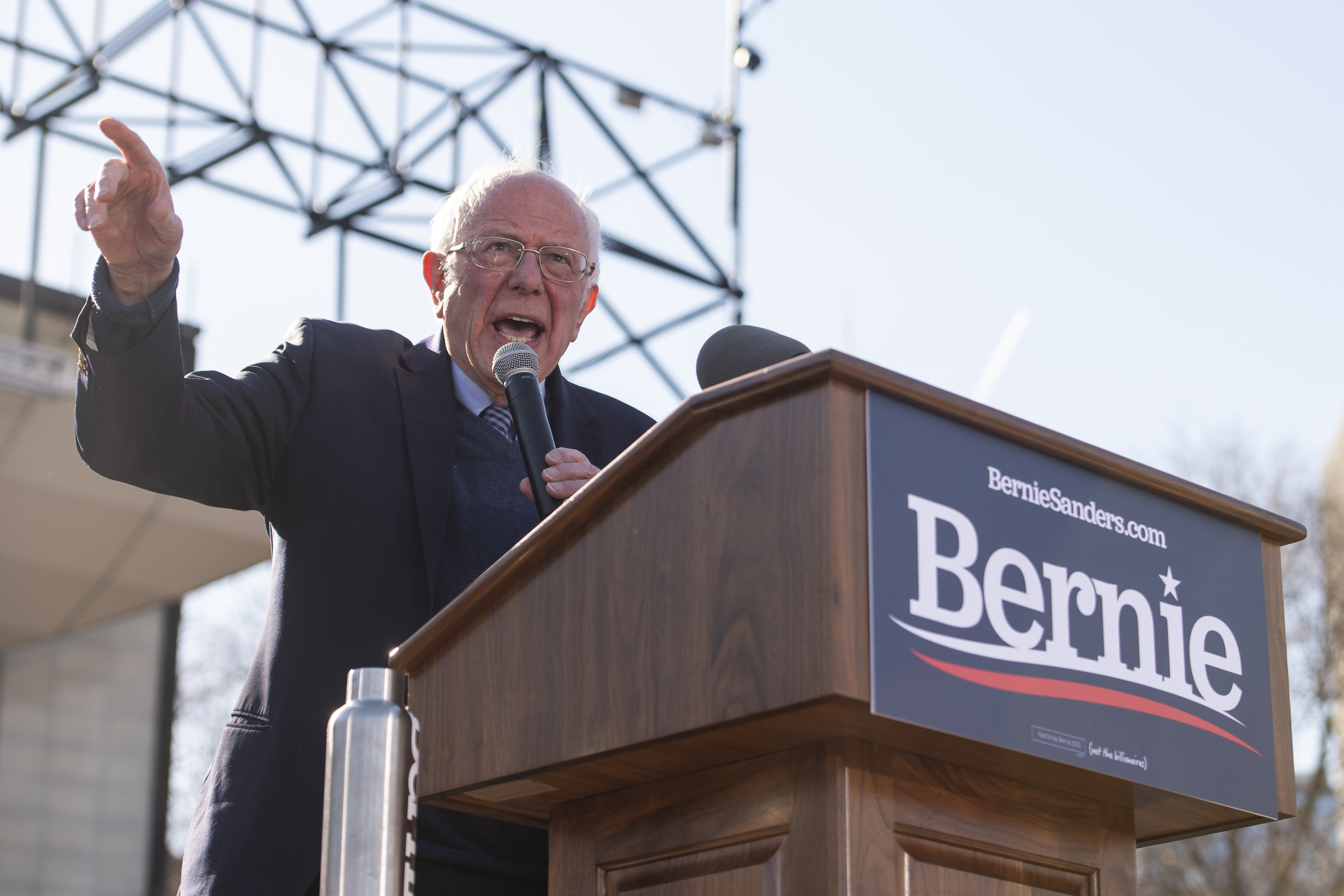 Then-presidential candidate Bernie Sanders speaks at Grant Park in March 2020. Sanders showed his support for striking Cook County workers Saturday.